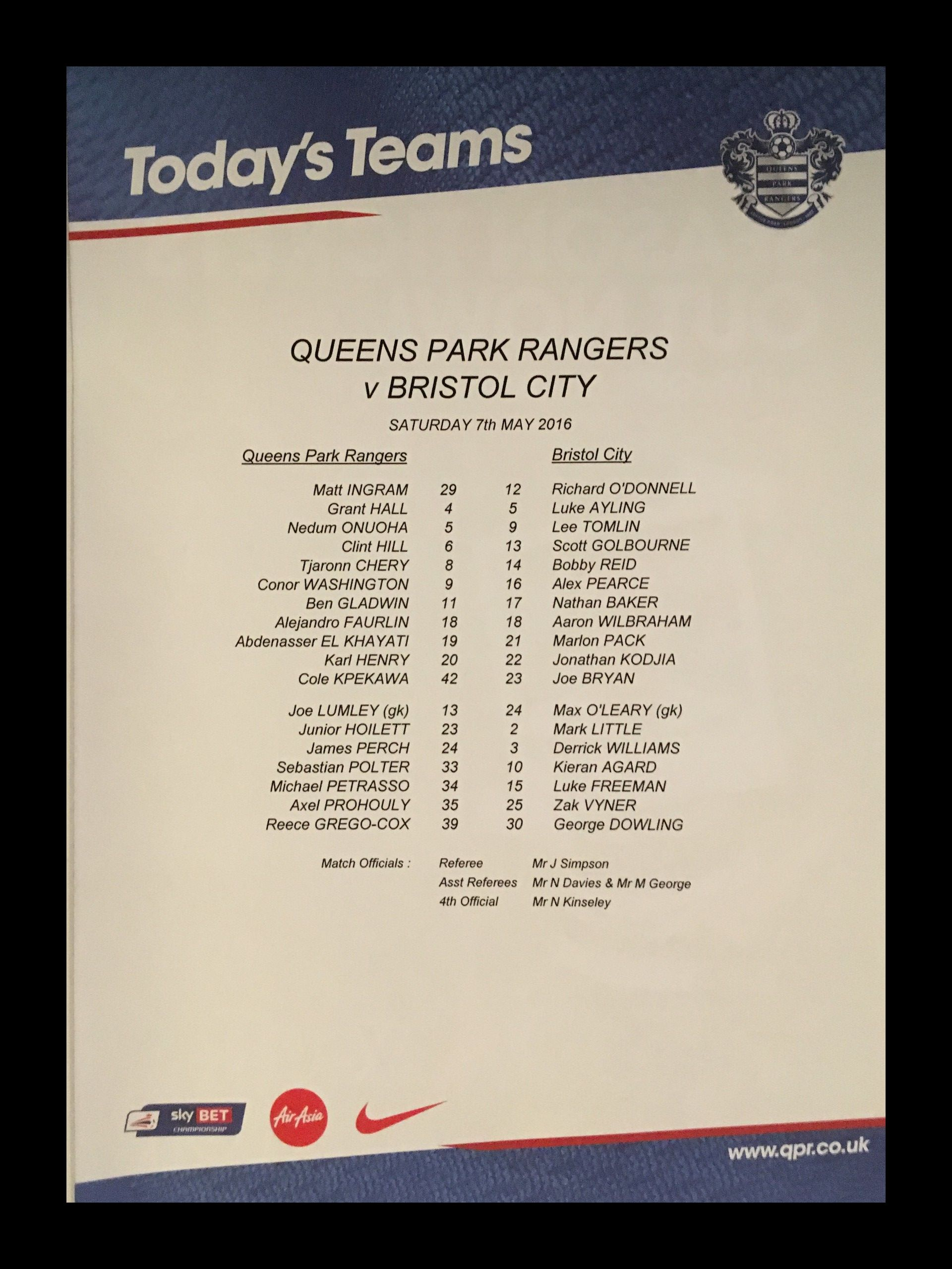 Queens Park Rangers v Bristol City 07-05-2016 Team Sheet