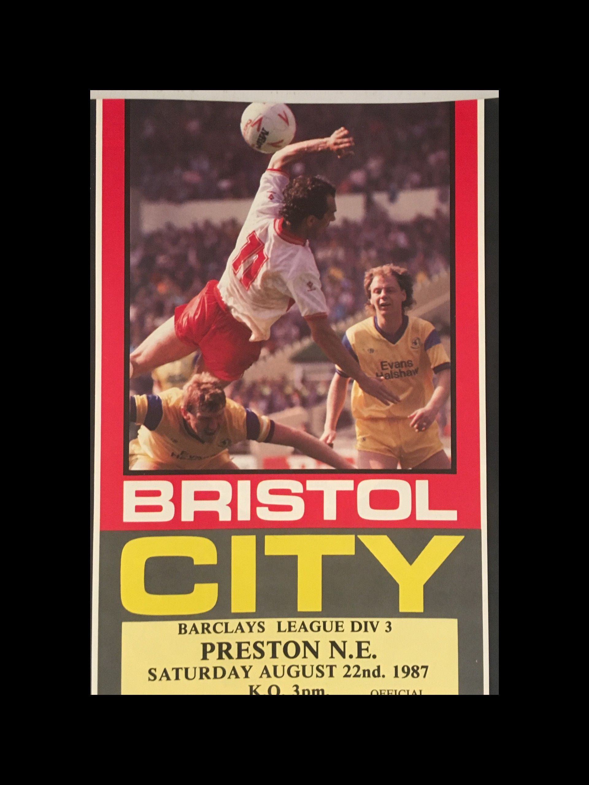 Bristol City v Preston North End 22-08-1987 Programme