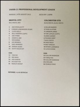 Bristol City v Colchester United 24-08-15 Team Sheet