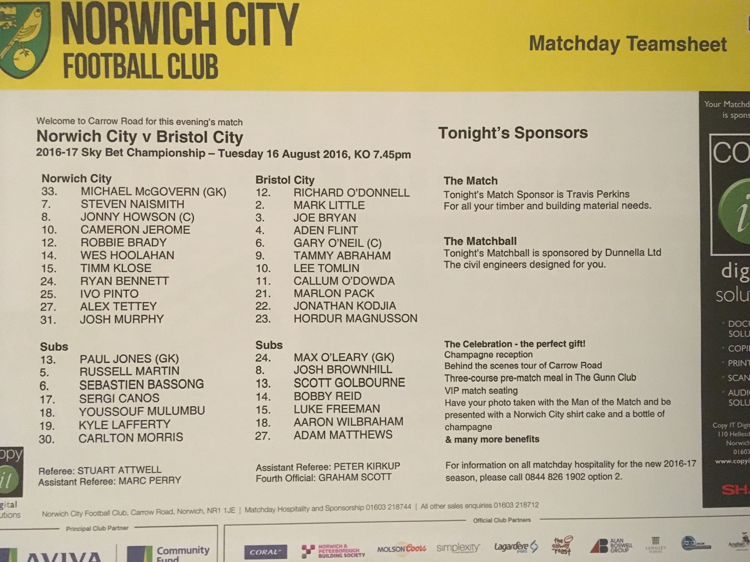 Norwich City v Bristol City 16-08-2016 Team Sheet