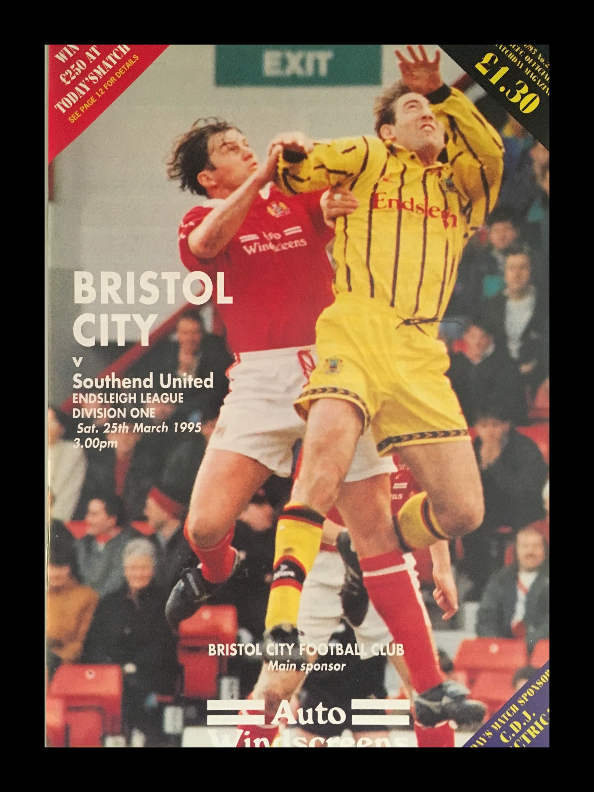 Bristol City v Southend United 25-03-1995 Programme