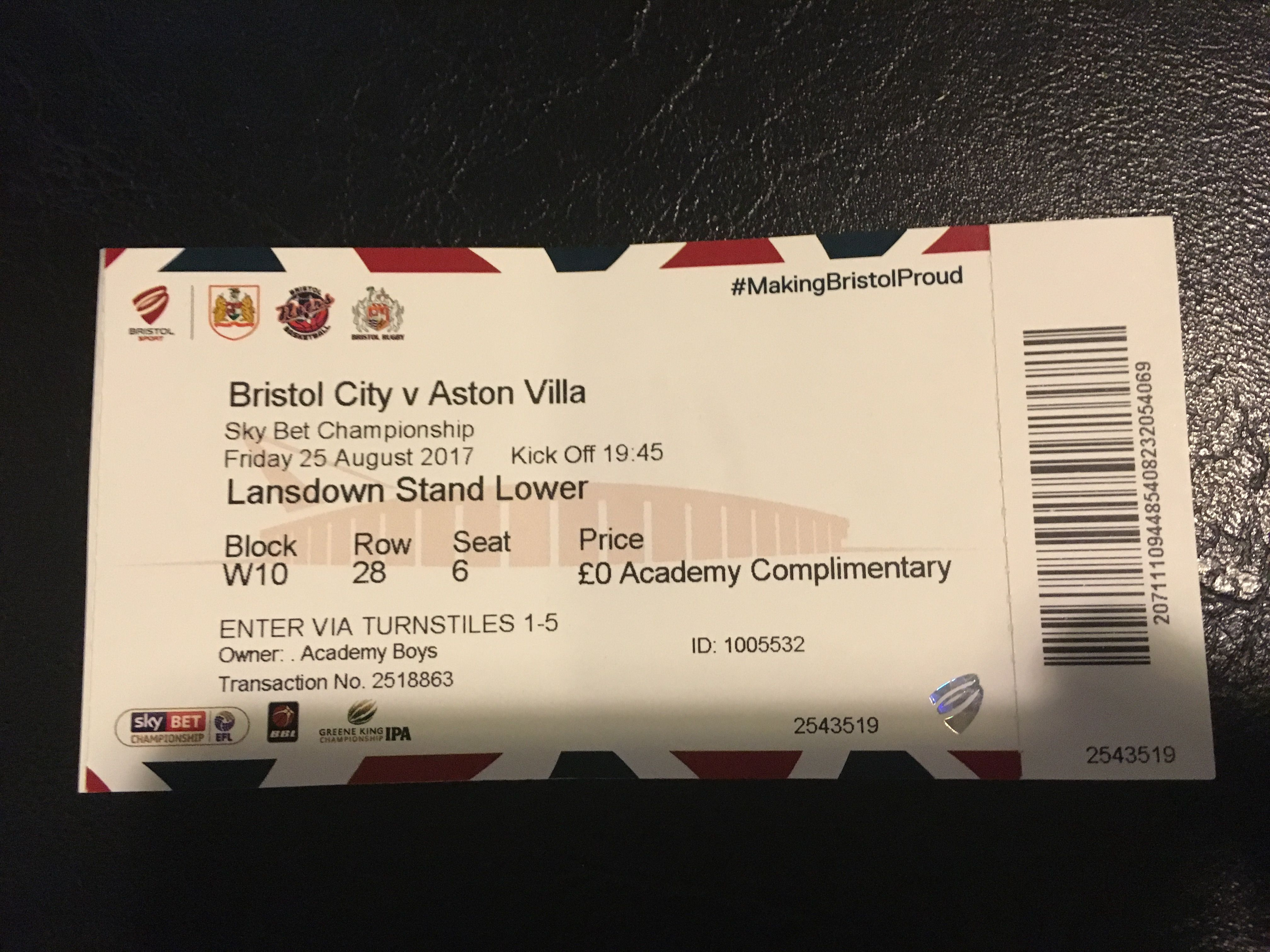 Bristol City v Aston Villa 25-08-17 Ticket