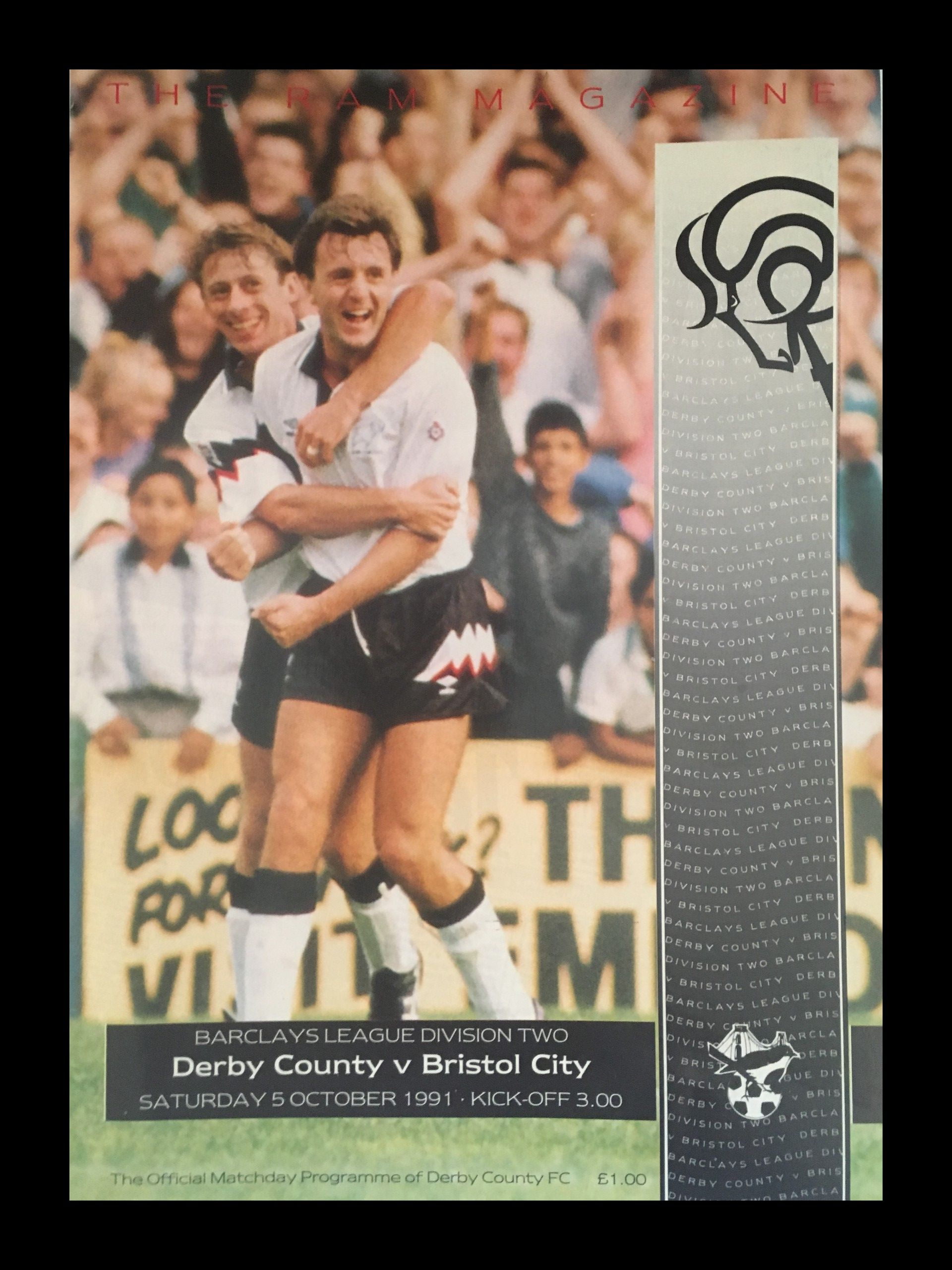 Derby County v Bristol City 05-10-1991 Programme