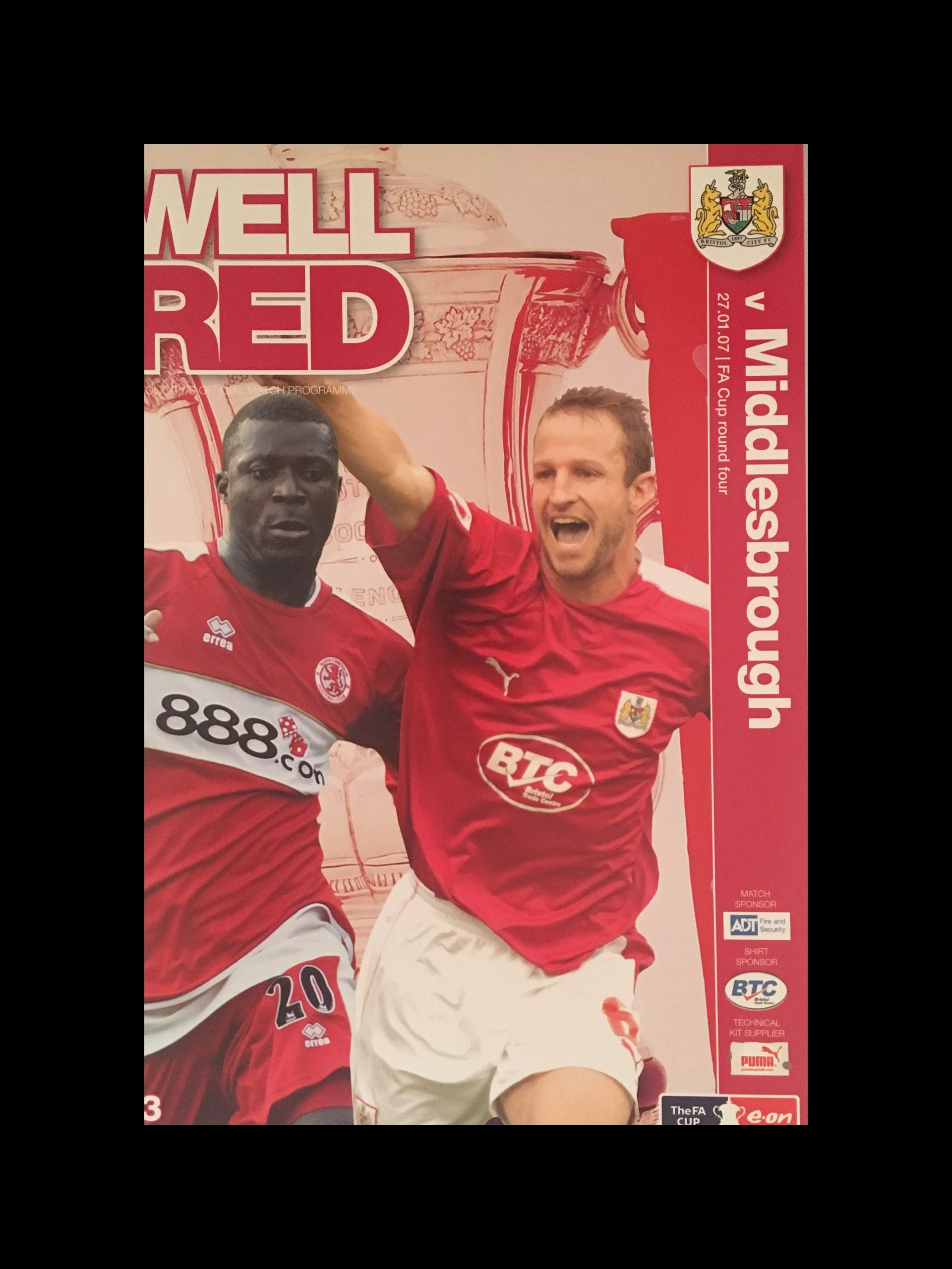 Bristol City v Middlesbrough 27-01-2007 Programme
