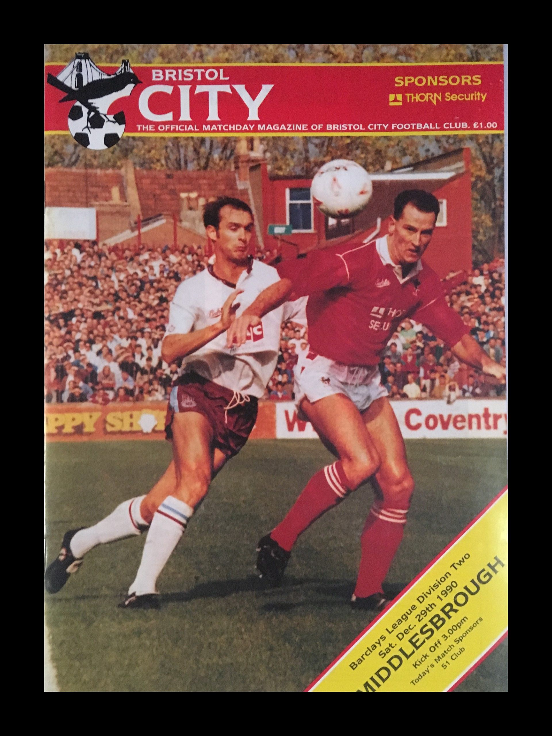 Bristol City v Middlesbrough 29-12-1990 Programme