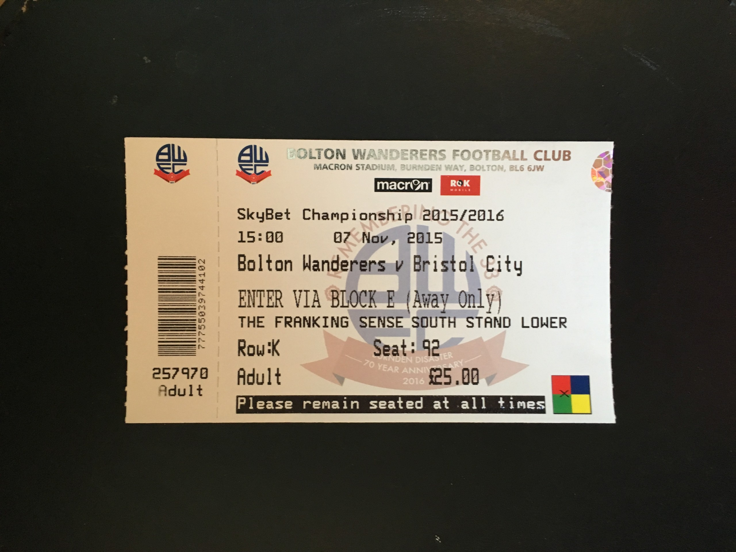 Bolton Wanderers v Bristol City 07-11-2015 Ticket