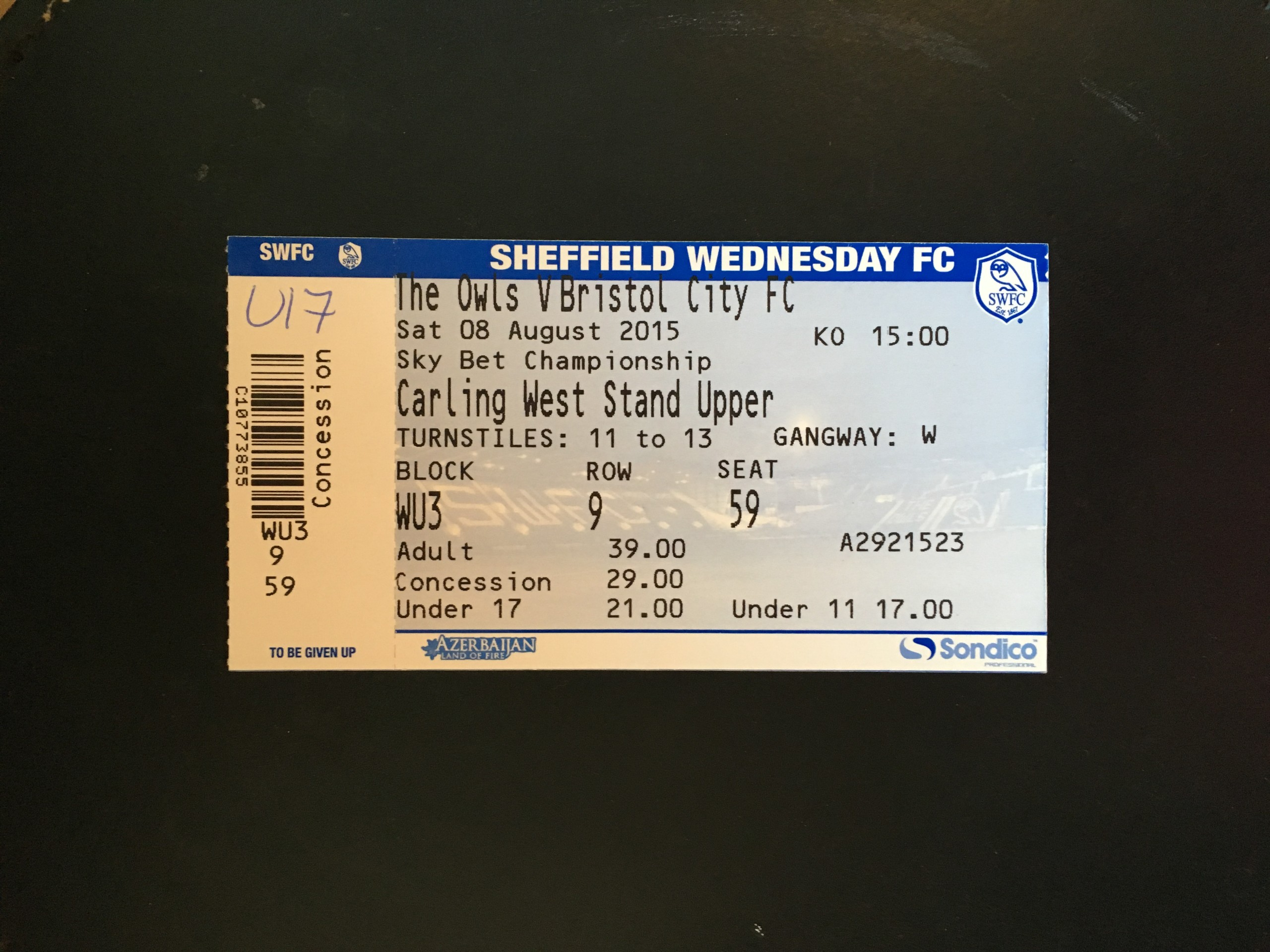 Sheffield Wednesday v Bristol City 08-08-2015 Ticket