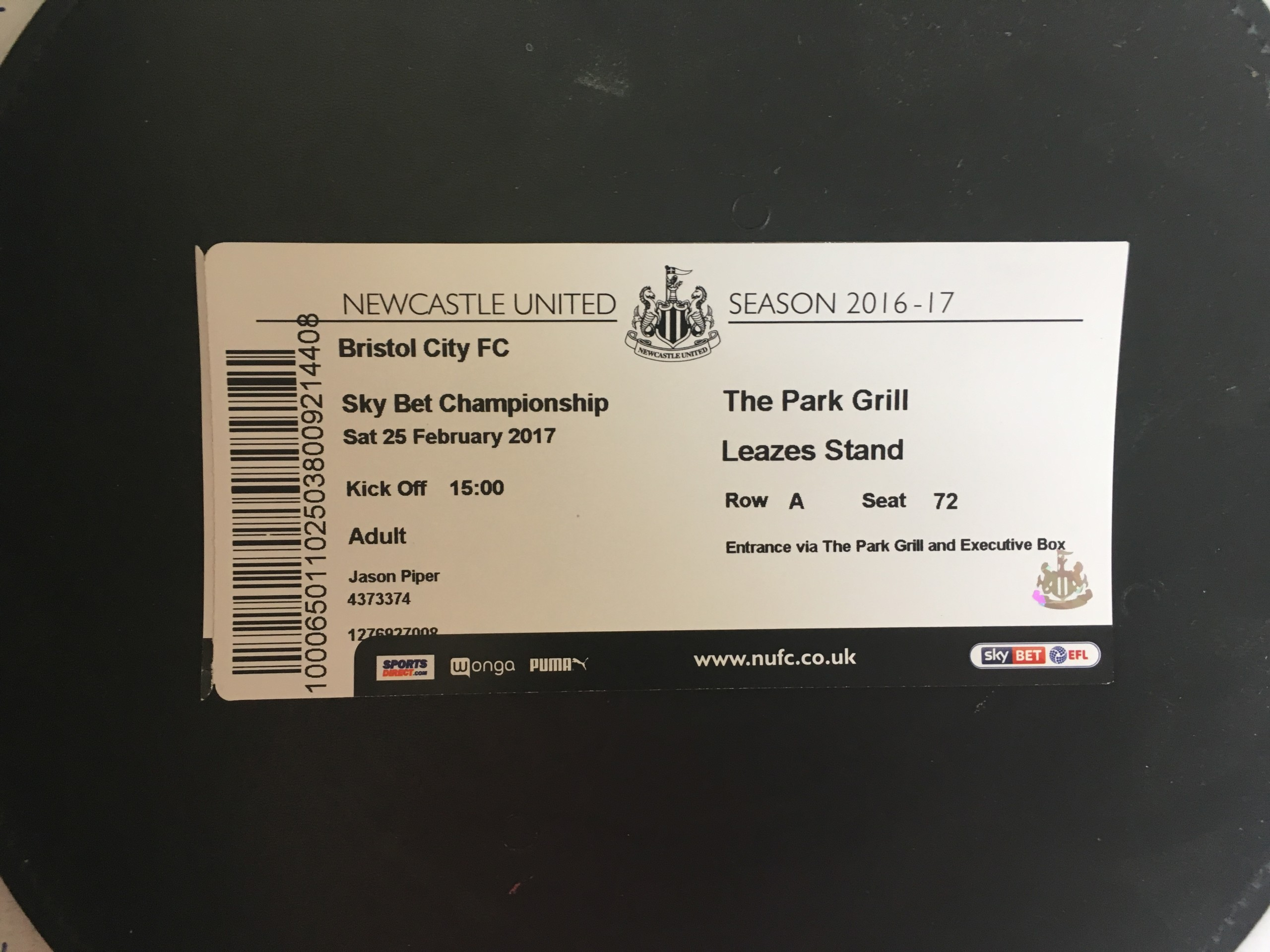 Newcastle United v Bristol City 25-02-17 Ticket