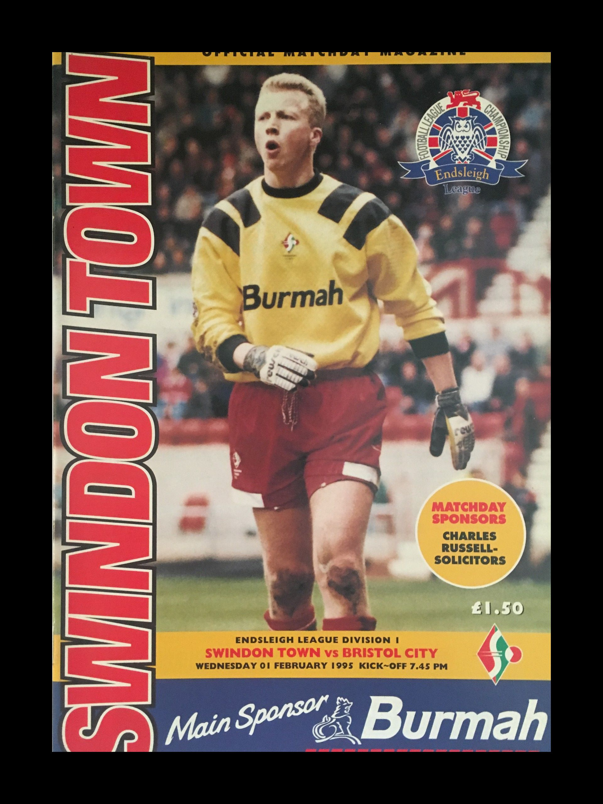 Swindon Town v Bristol City 01-02-1995 Programme