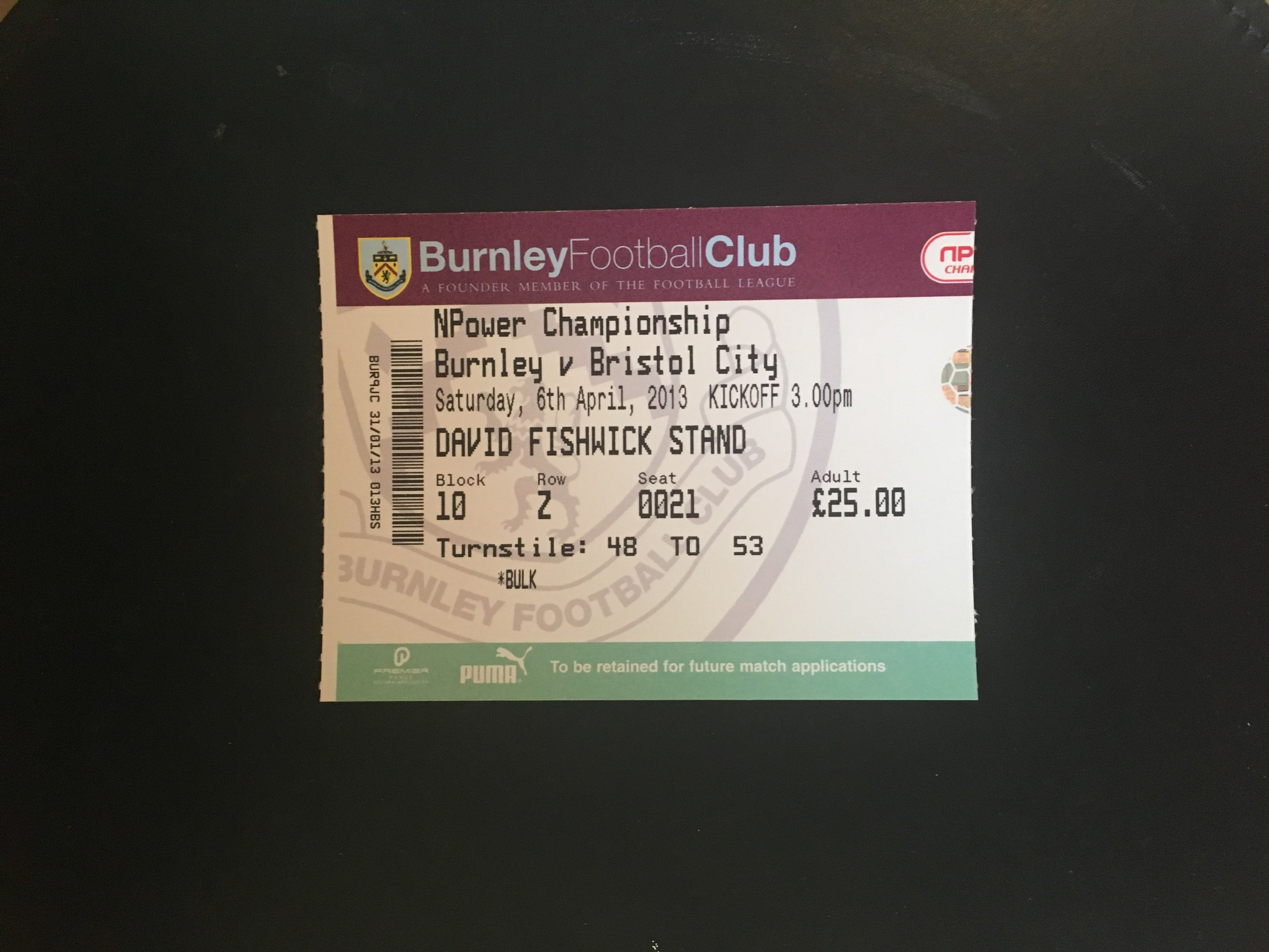 Burnley v Bristol City 06-04-13 Ticket