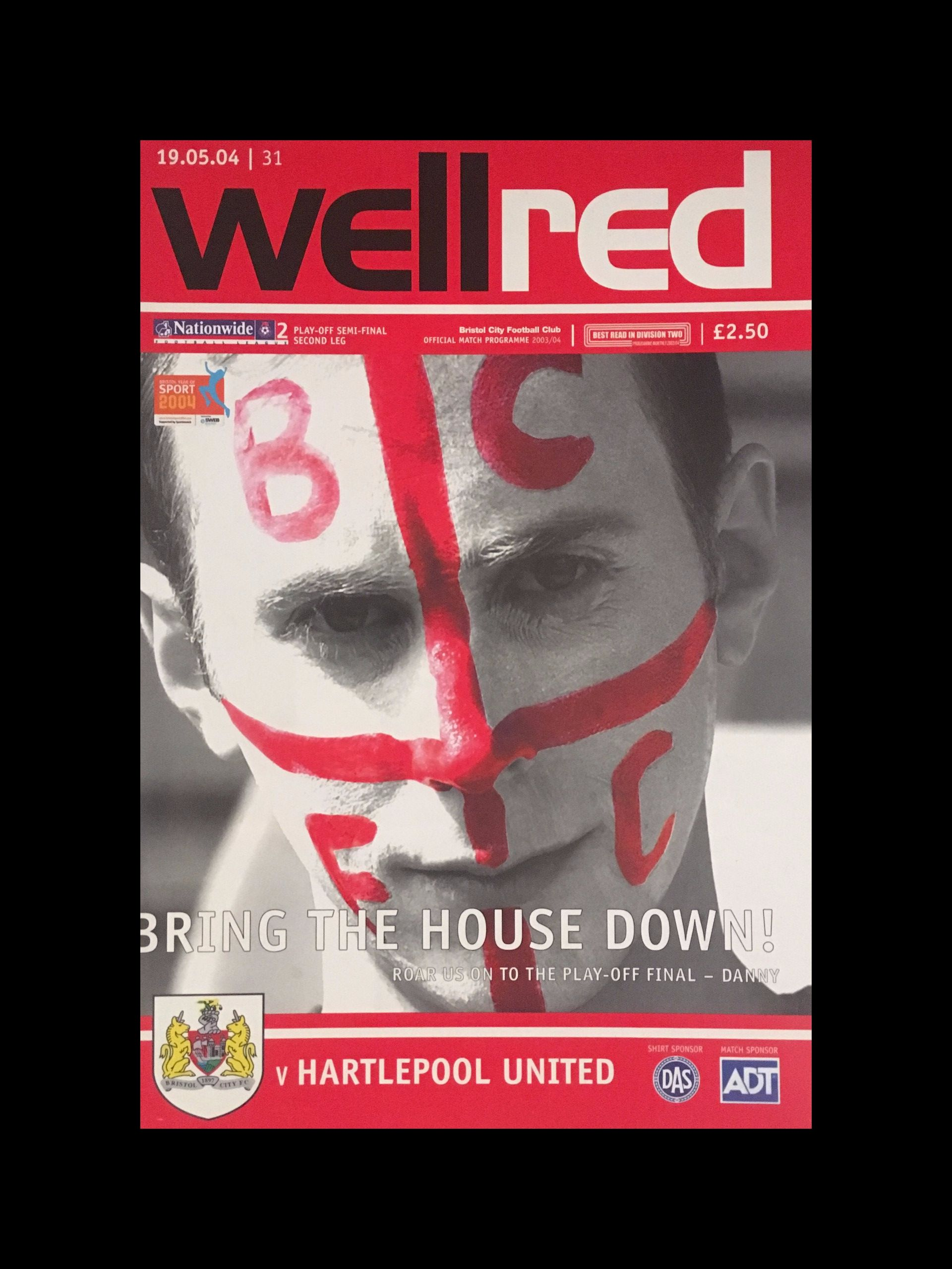 Bristol City v Hartlepool United 19-05-2004 Programme