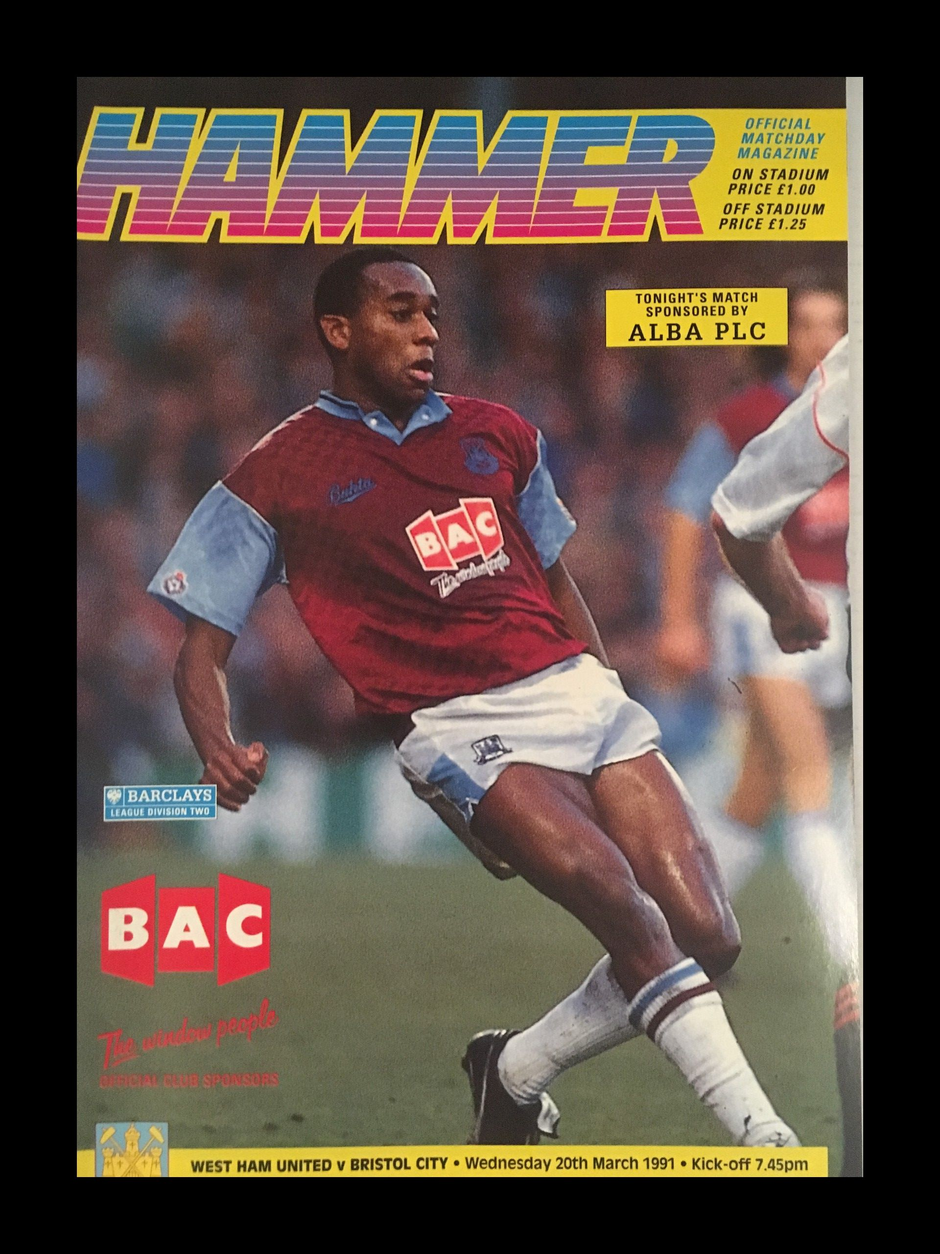 West Ham United v Bristol City 20-03-1991 Programme