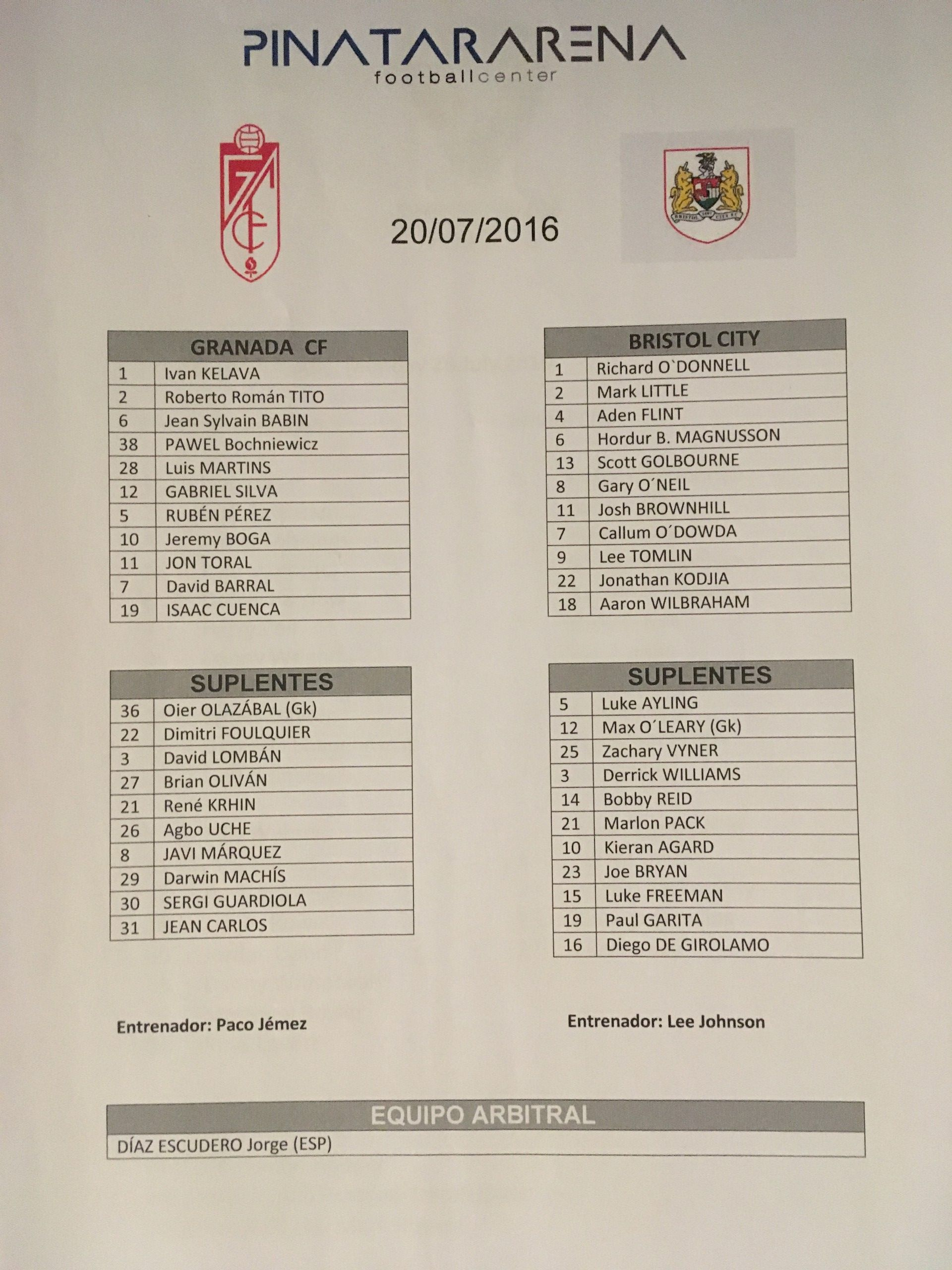 Granada CF v Bristol City 20-07-2016 Team Sheet