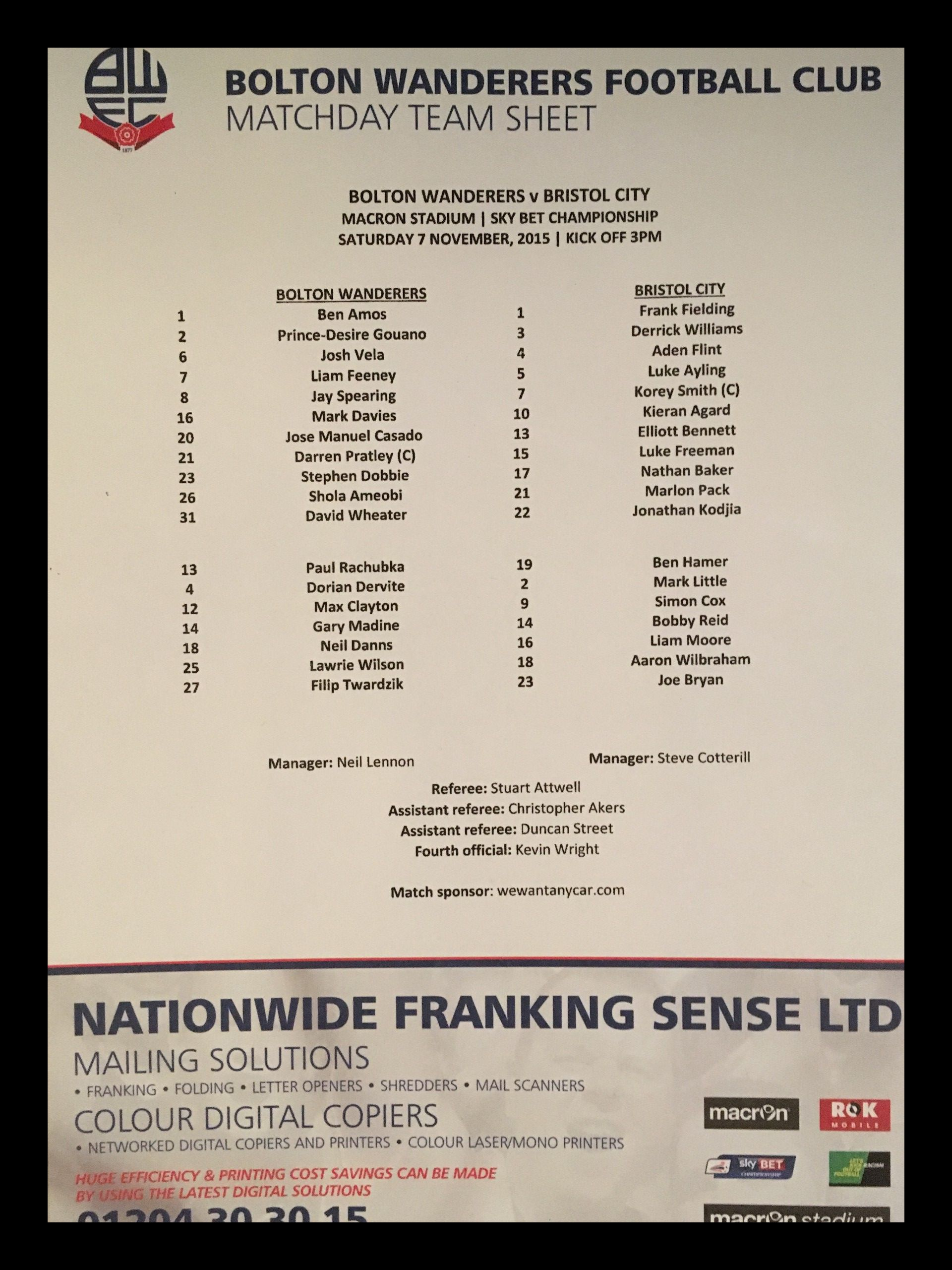 Bolton Wanderers v Bristol City 07-11-2015 Team Sheet