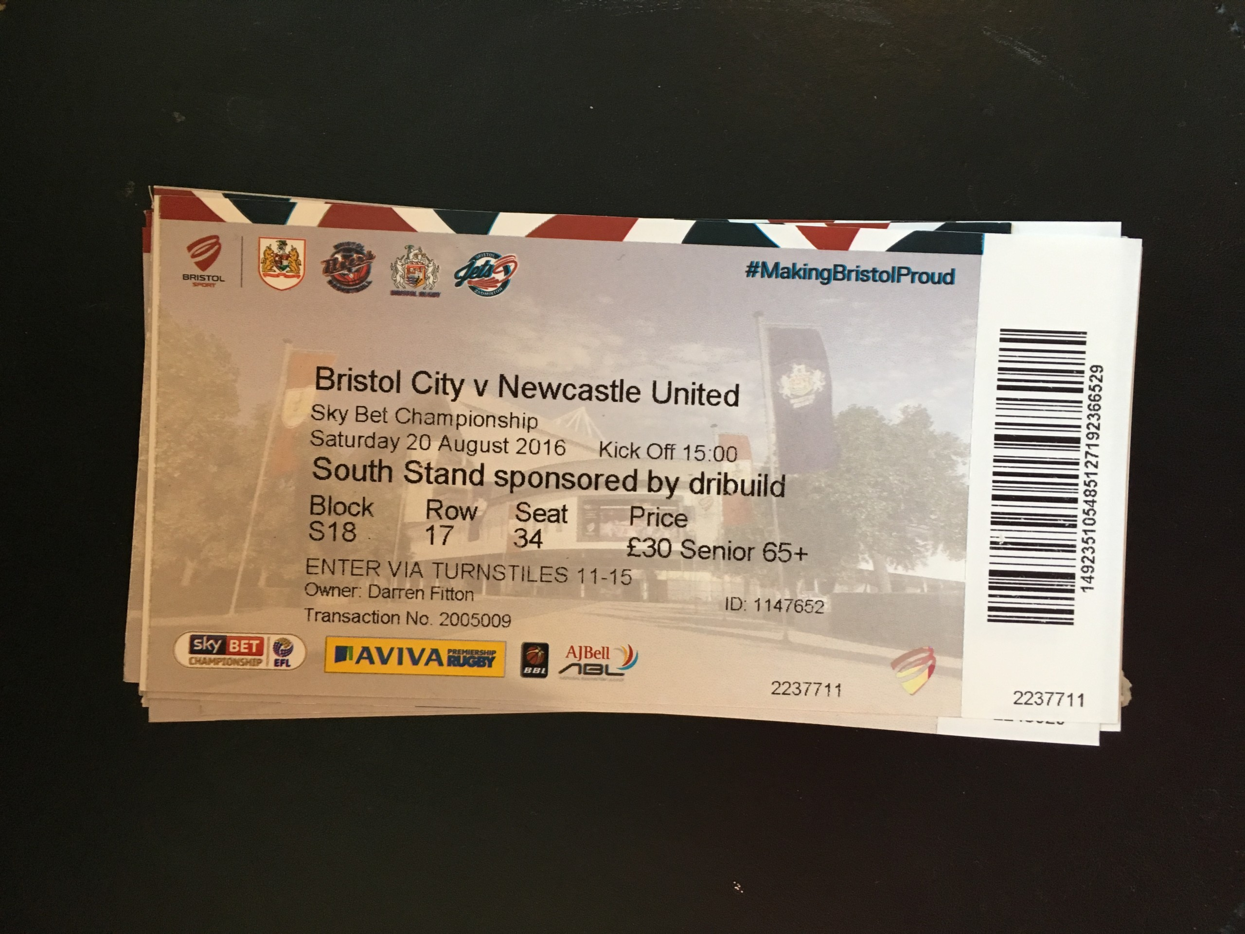 Bristol City v Newcastle United 20-08-2016 Ticket
