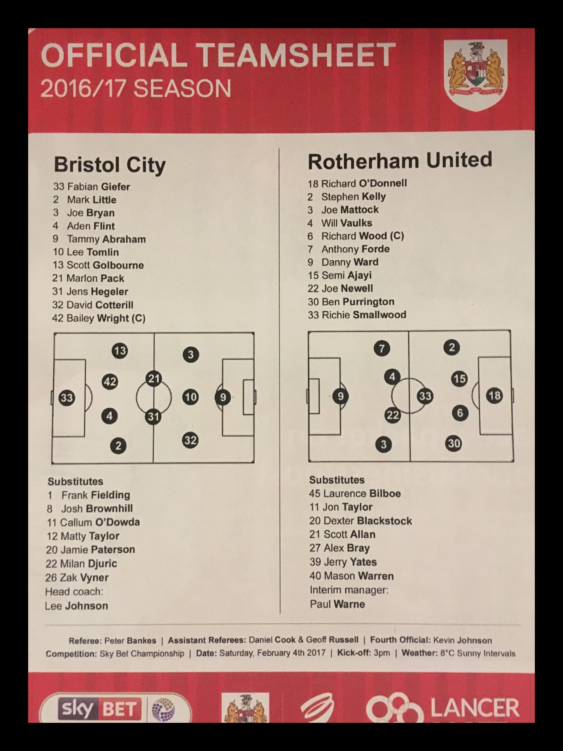 Bristol City v Rotherham United 04-02-17 Team Sheet