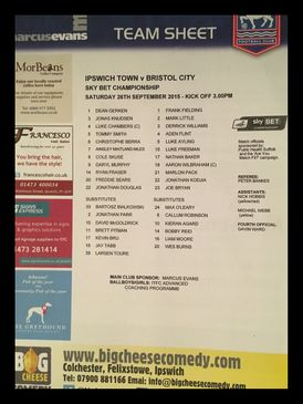 Ipswich Town v Bristol City 26-09-2015 Team Sheet