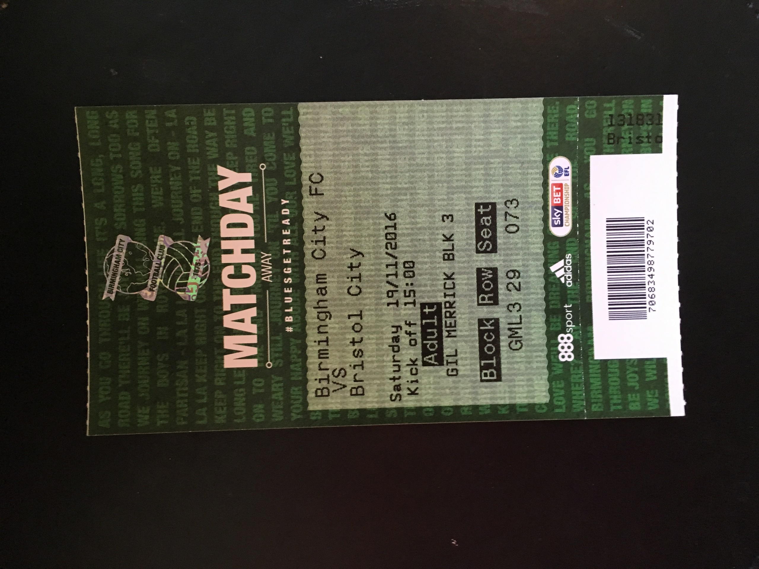 Birmingham City v Bristol City 19-11-2016 Ticket