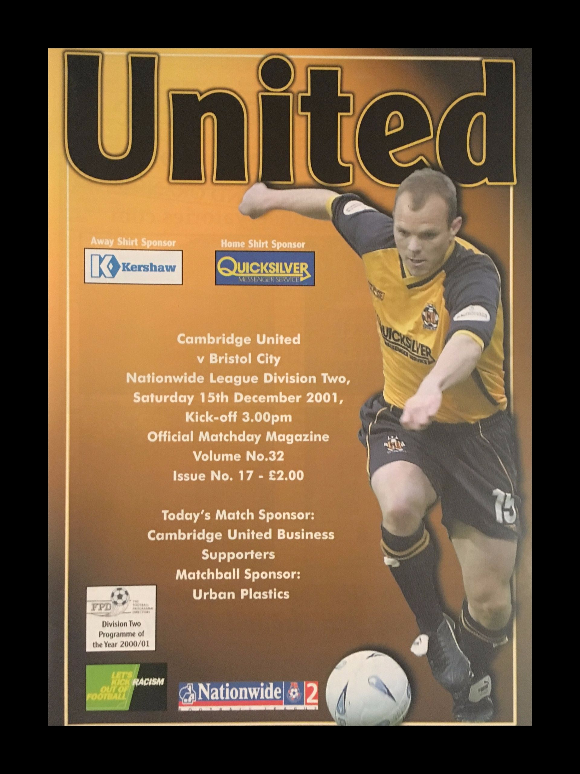 Cambridge United v Bristol City 29-09-2001 Programme