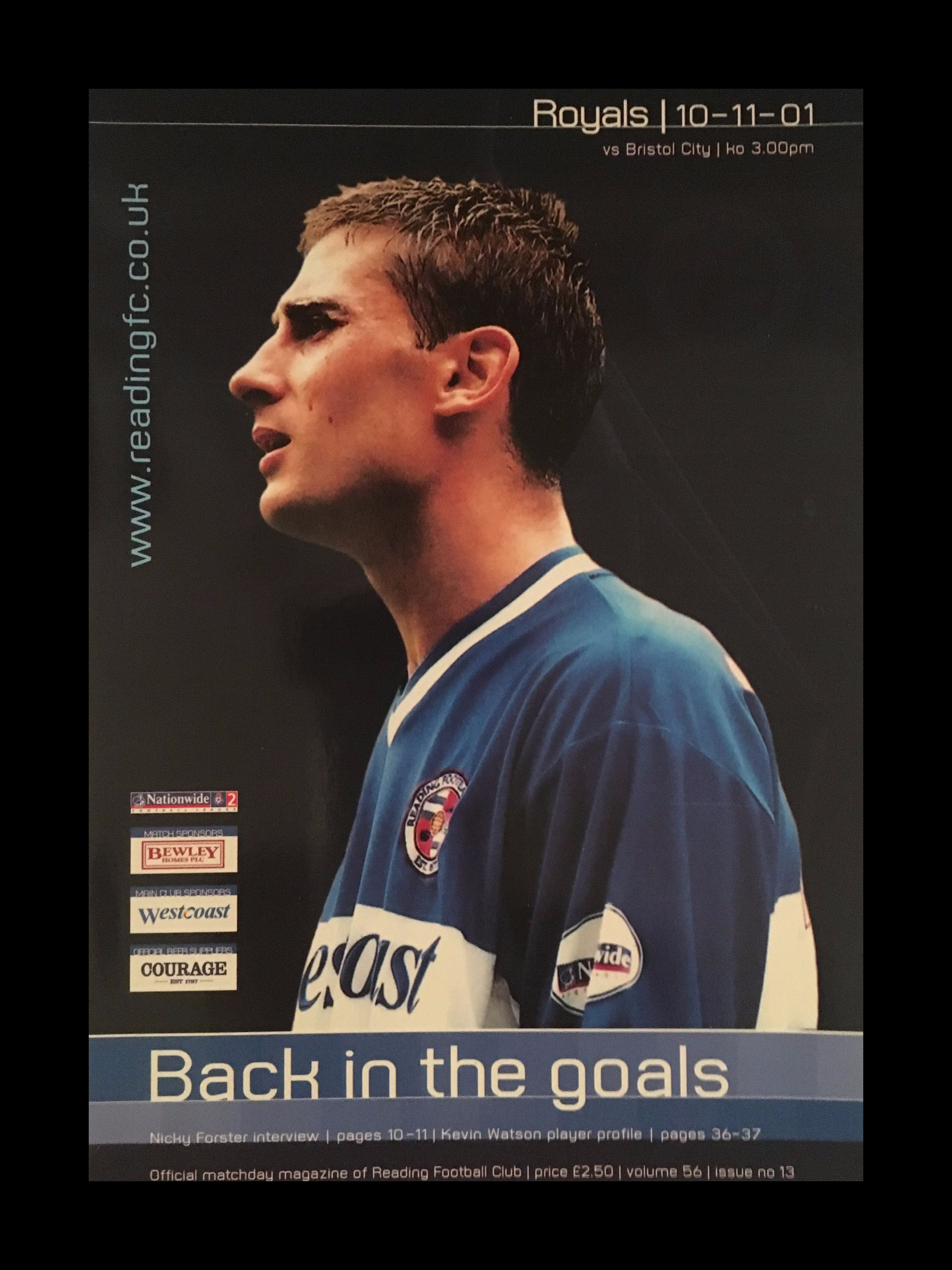 Reading v Bristol City 10-11-2001 Programme