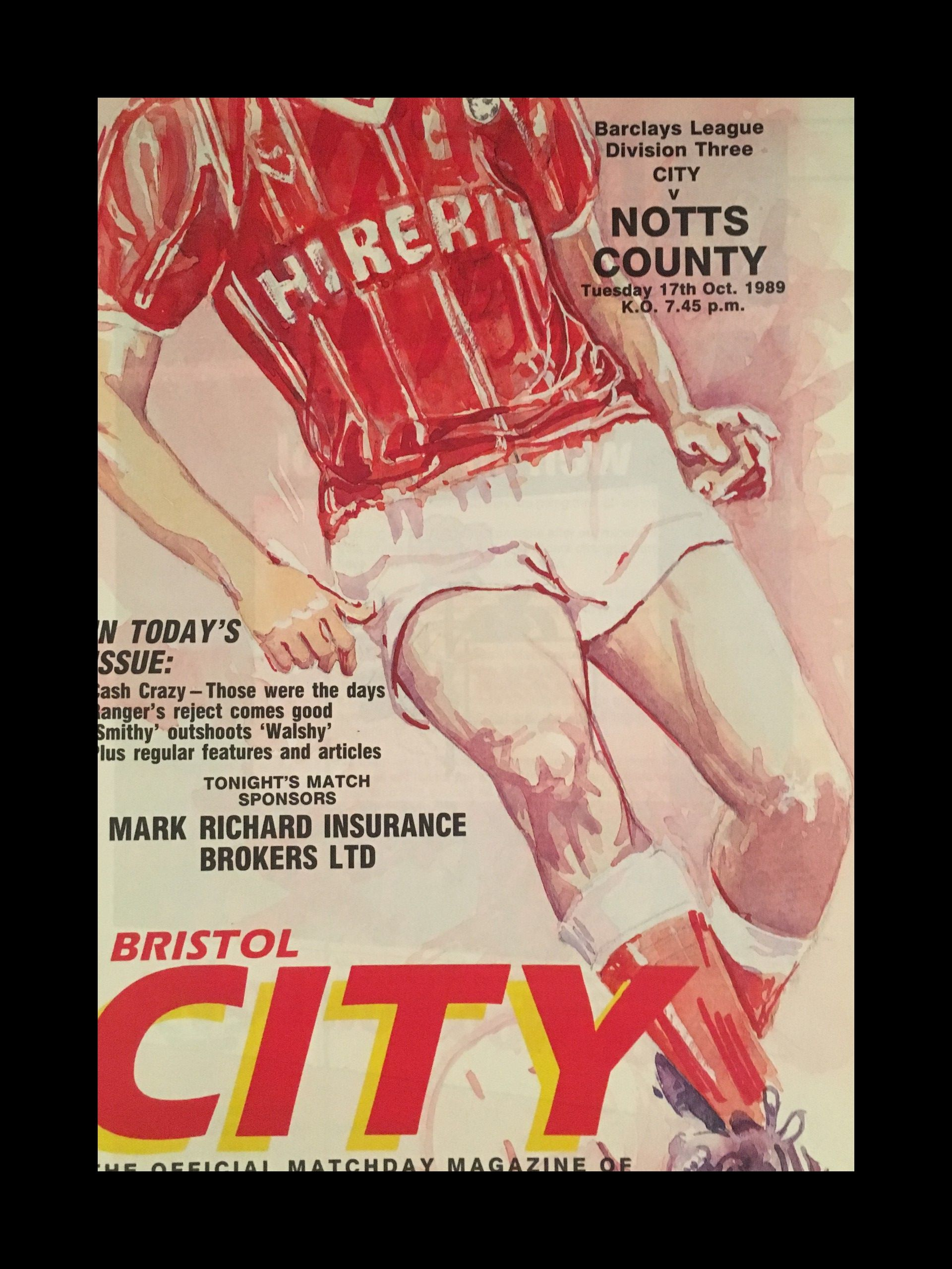 Bristol City v Notts County 17-10-1989 Programme