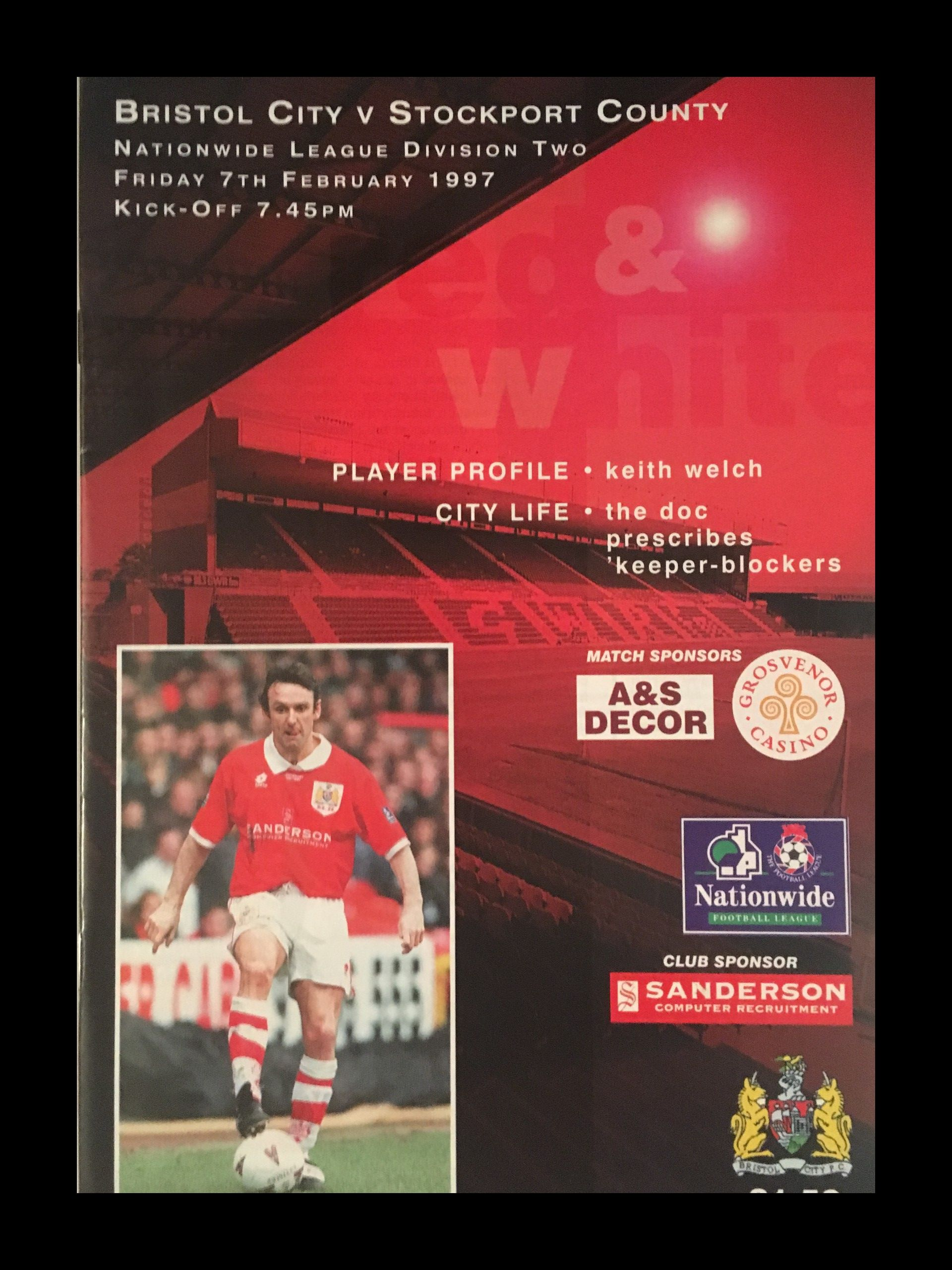 Bristol City v Stockport County 07-02-1997 Programme