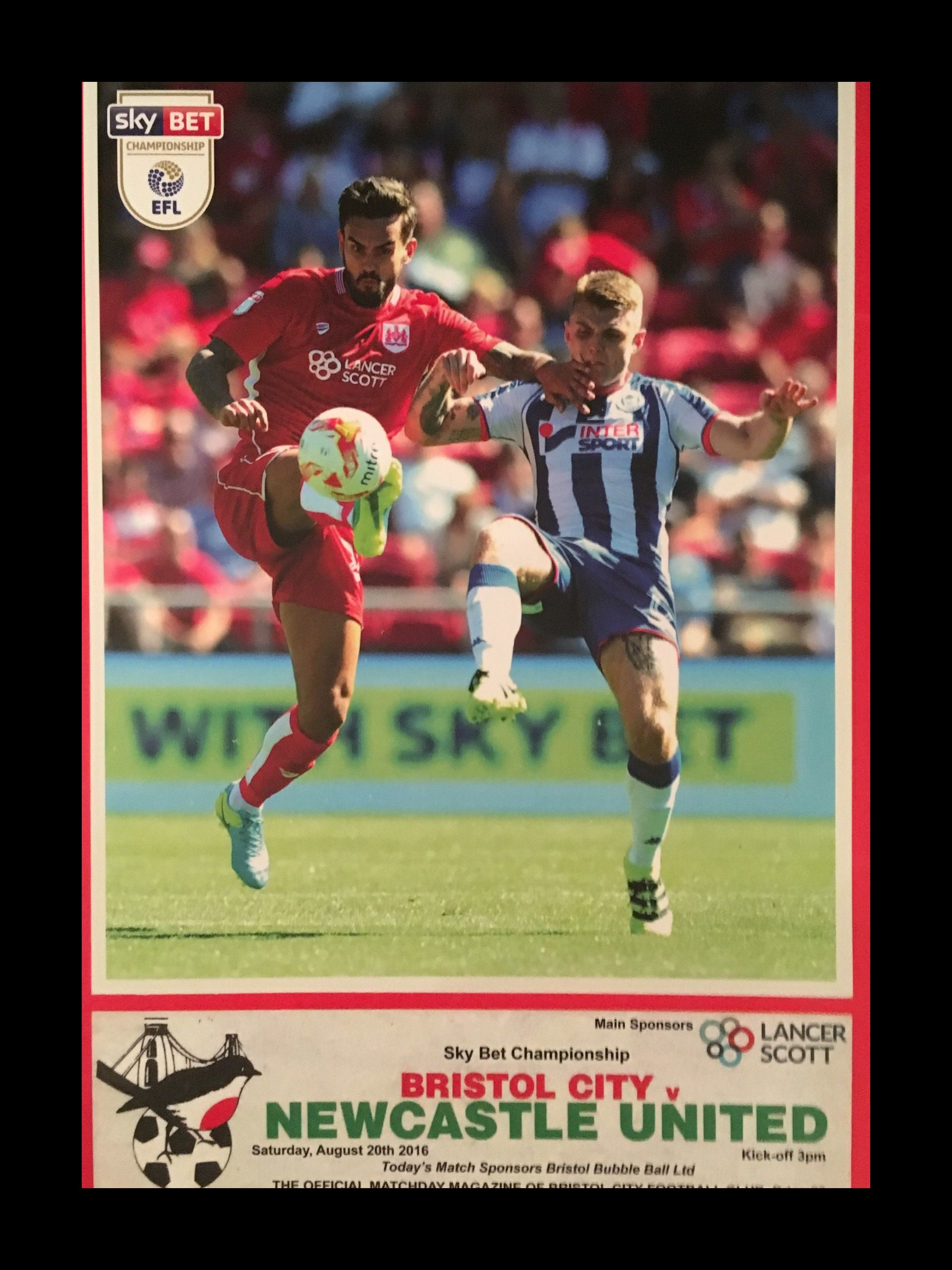 Bristol City v Newcastle United 20-08-2016 Programme