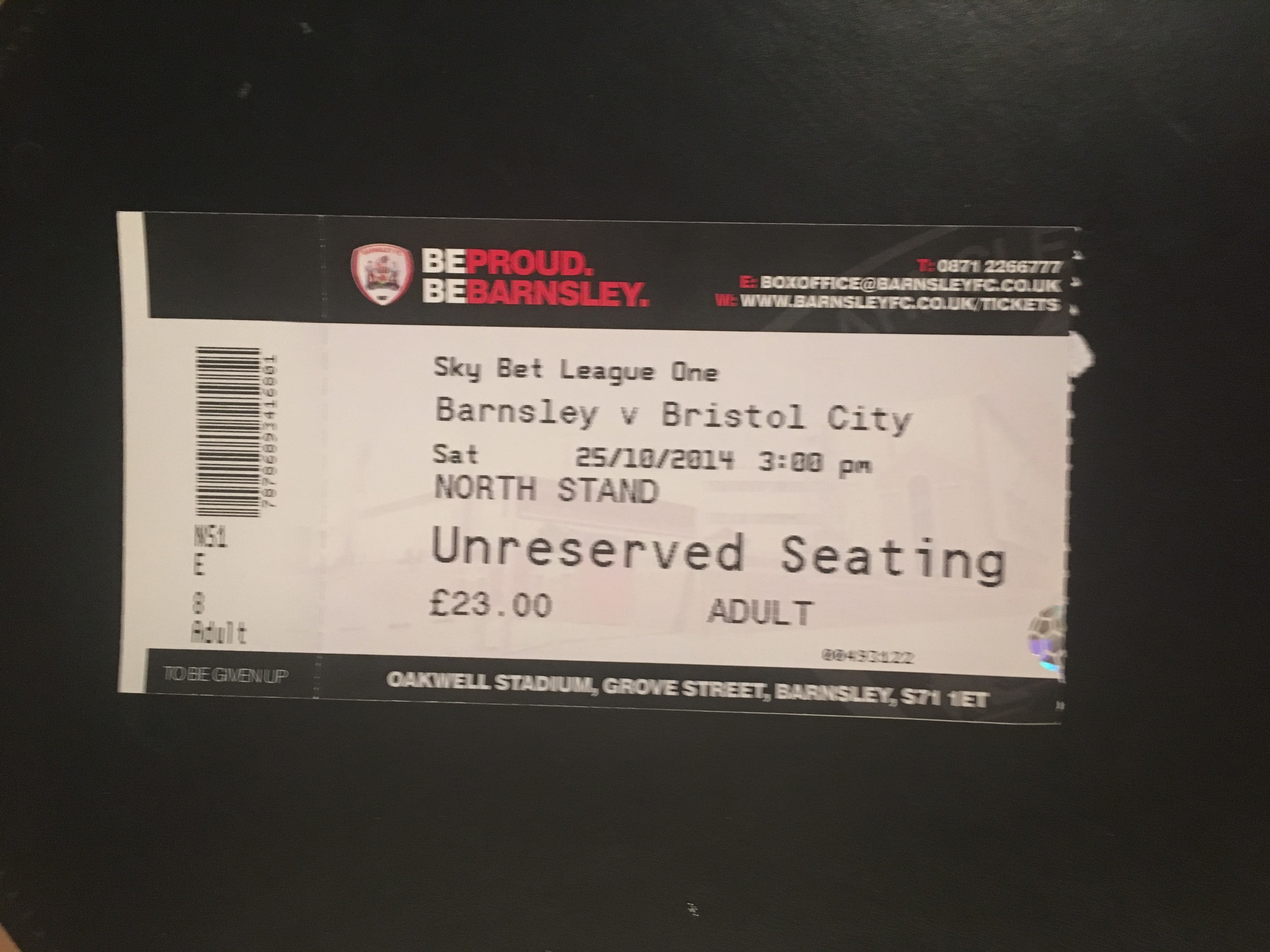 Barnsley v Bristol City 25-10-2014 Ticket
