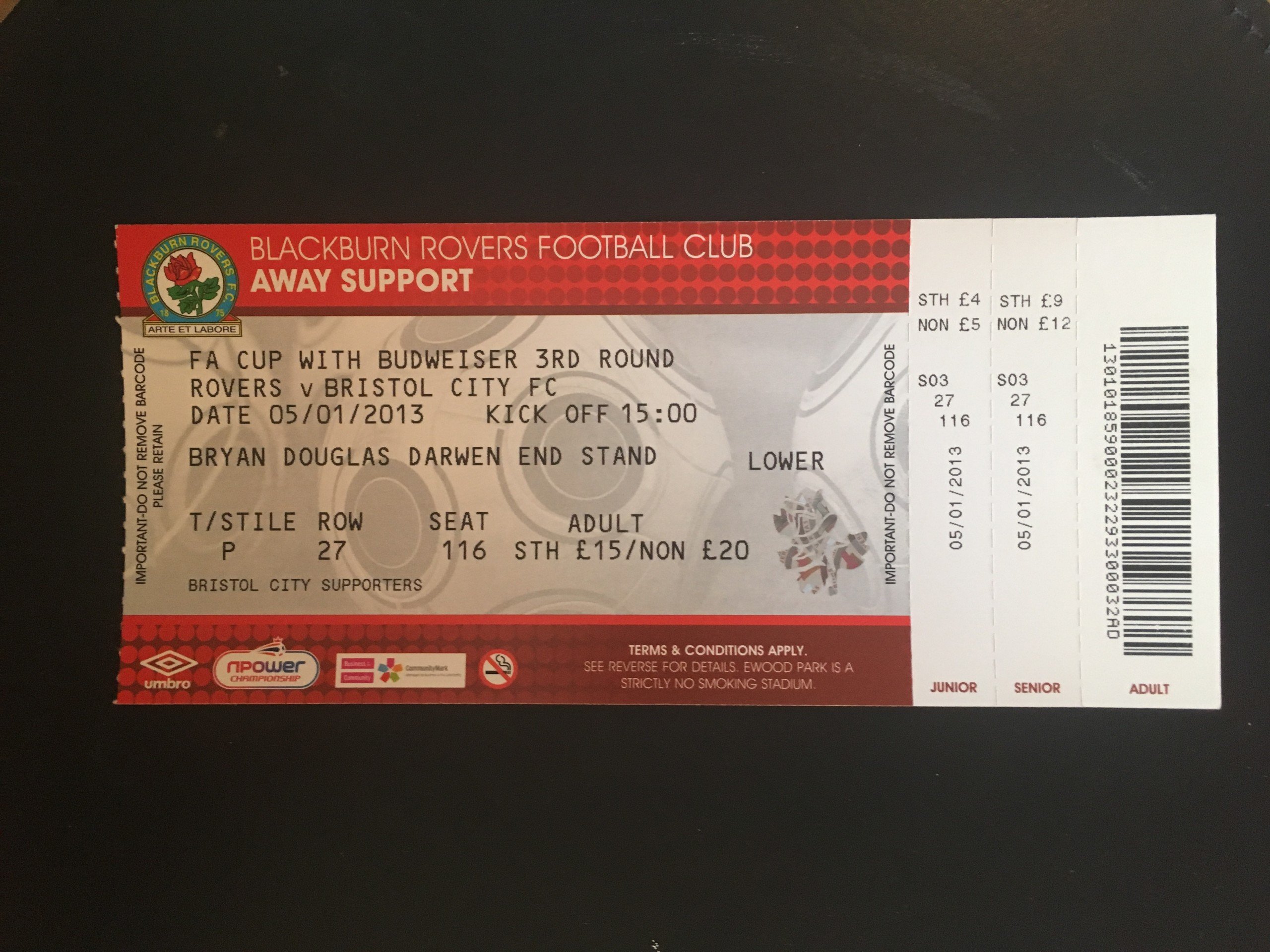 Blackburn Rovers v Bristol City 02-02-13 Ticket