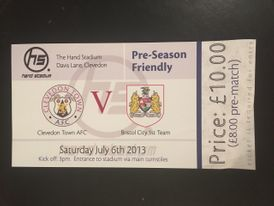 Clevedon Town v Bristol City 06-07-2013 Ticket