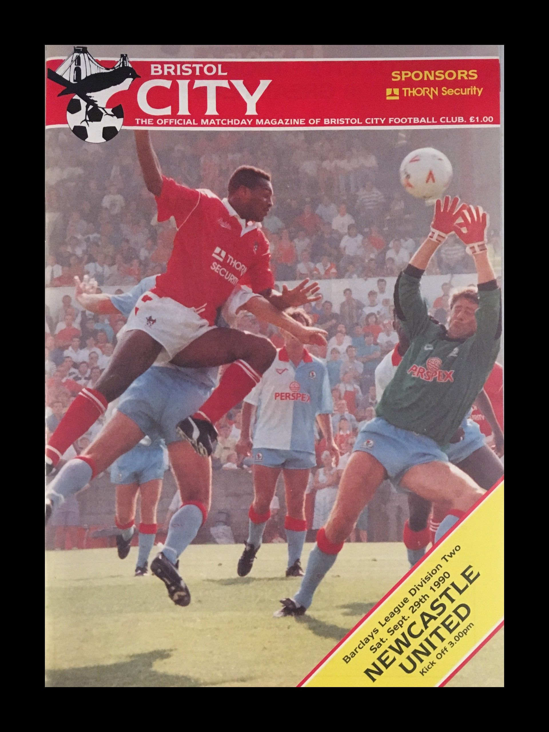 Bristol City v Newcastle United 29-09-1990 Programme