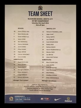 Blackburn Rovers v Bristol City 23-04-2016 Team Sheet