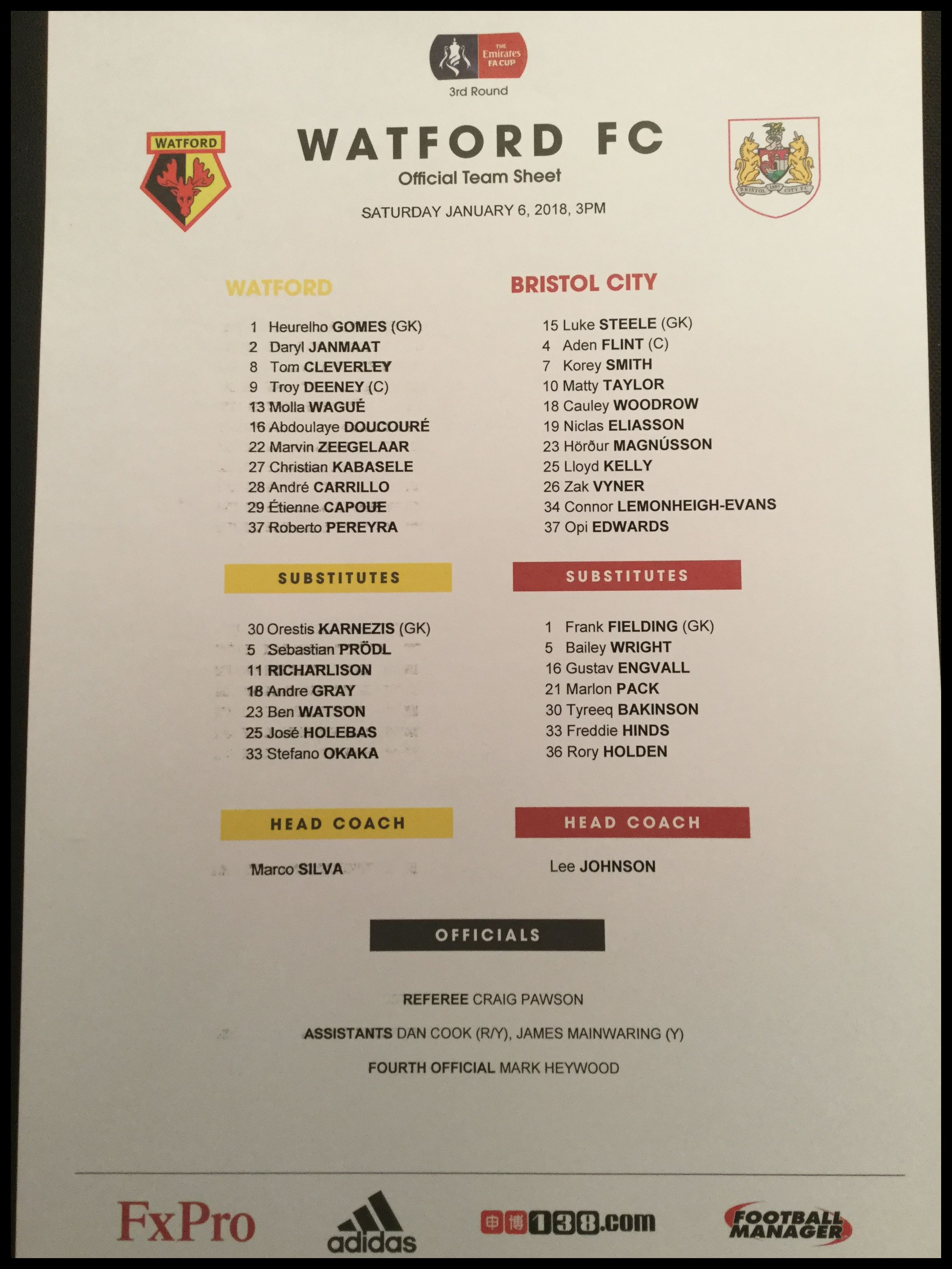 Watford v Bristol City 06-01-17 Team Sheet
