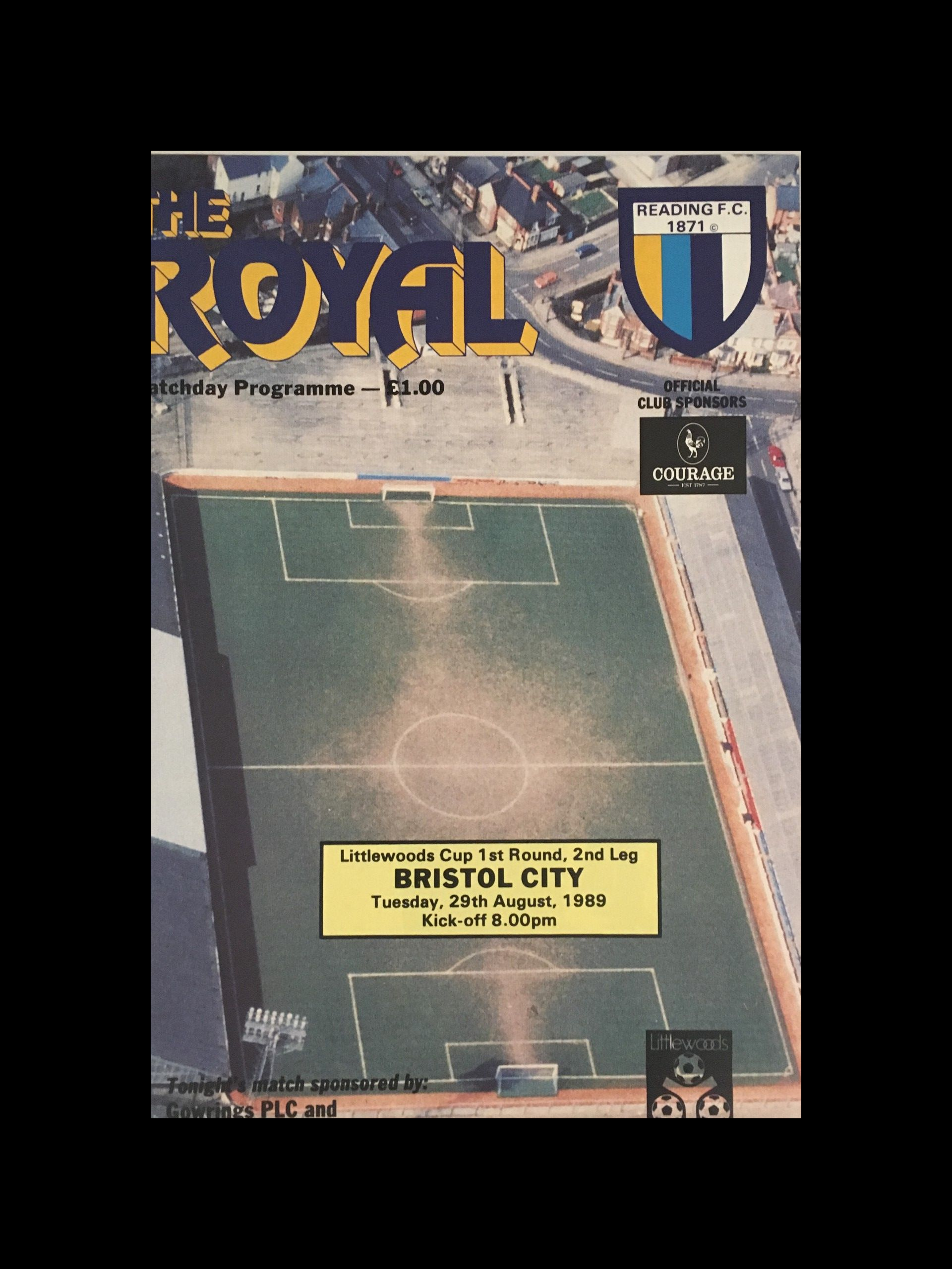 Reading v Bristol City 29-08-1989 Programme