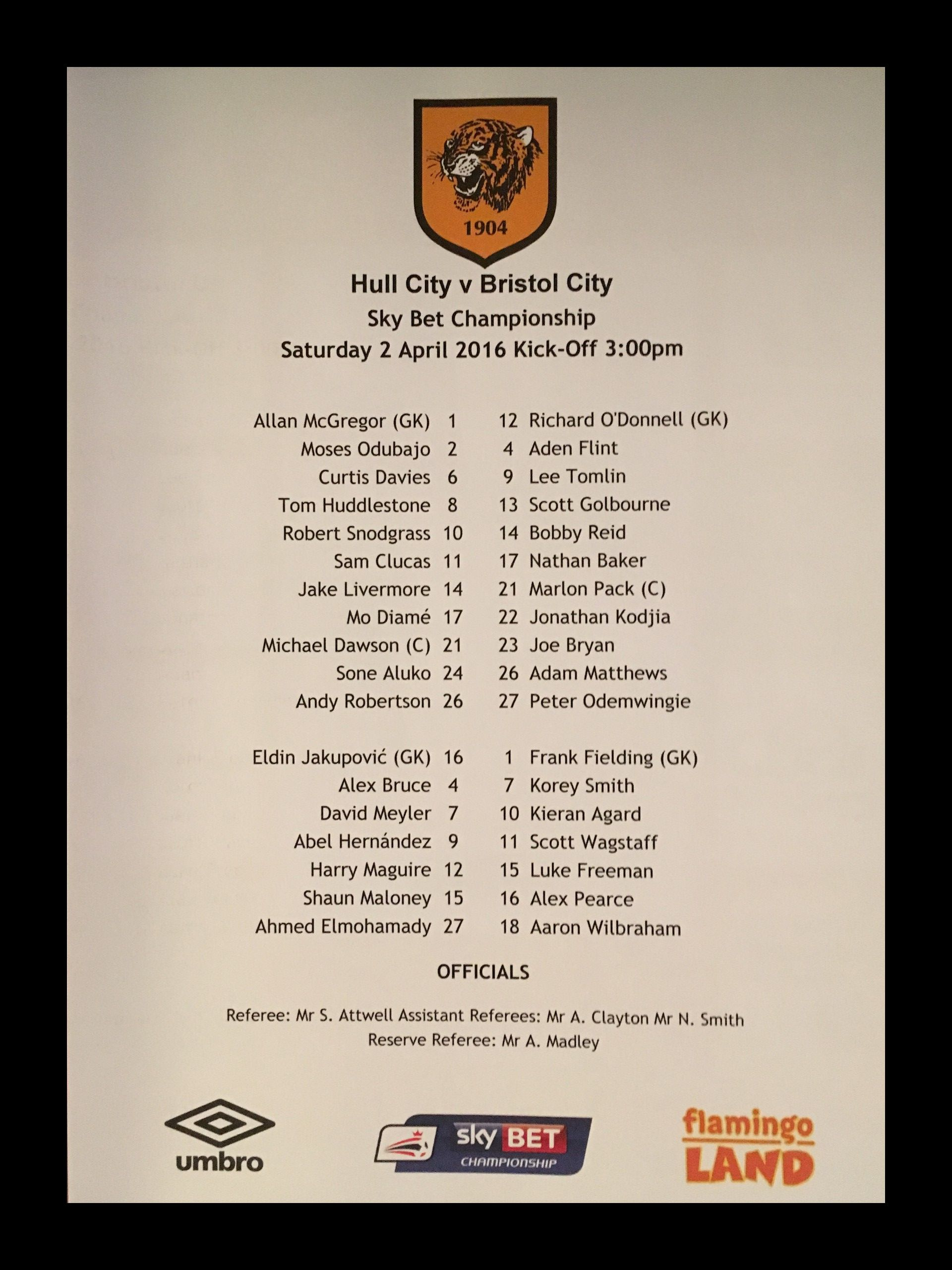 Hull City v Bristol City 02-04-2016 Team Sheet