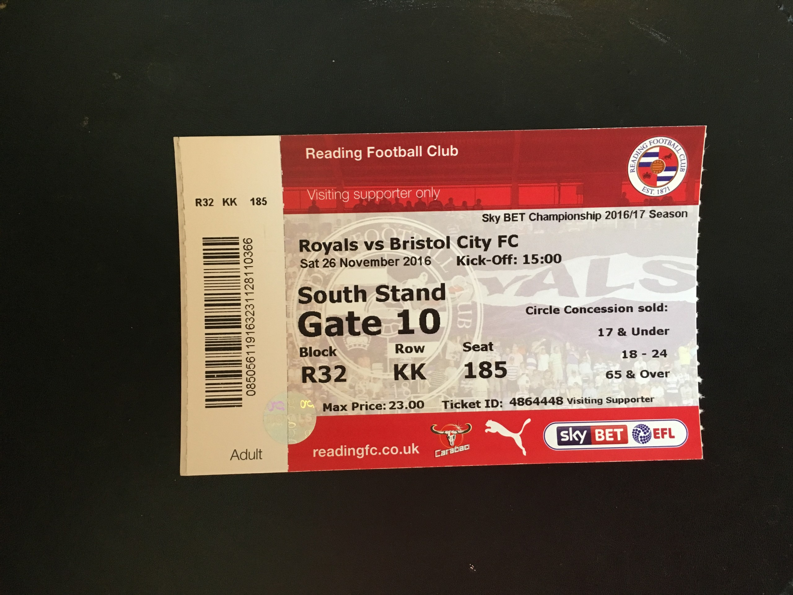 Reading v Bristol City 26-11-2016 Ticket