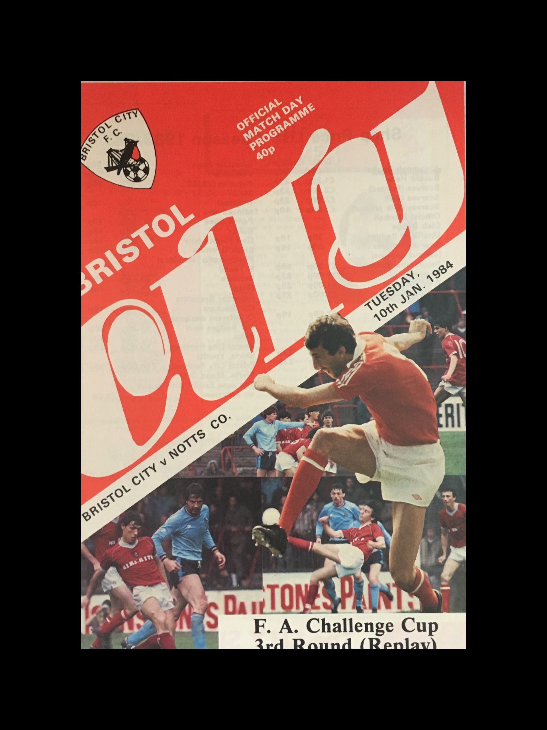 Bristol City v Notts County 10-01-84 Programme