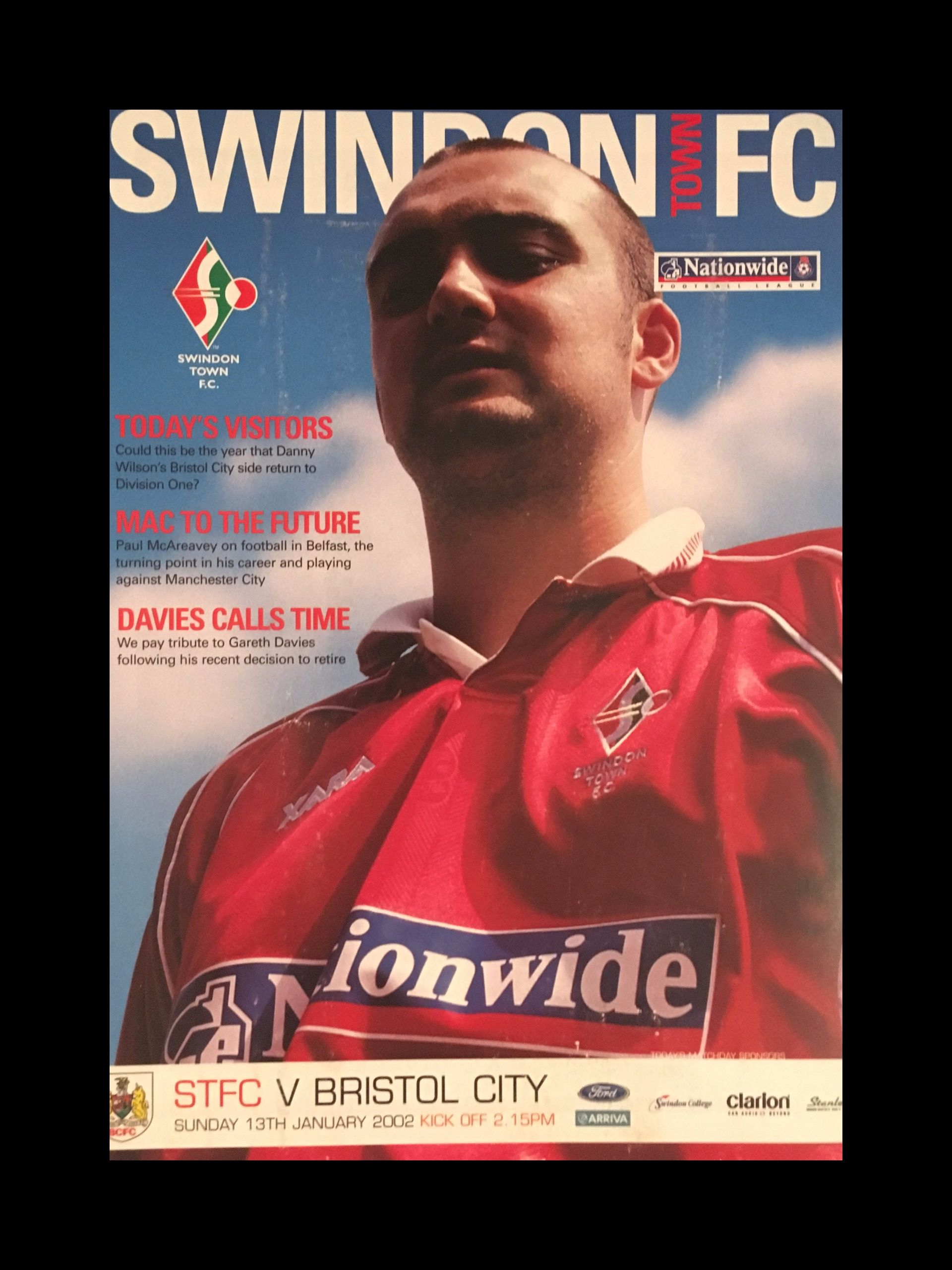 Swindon Town v Bristol City 13-01-2002 Programme