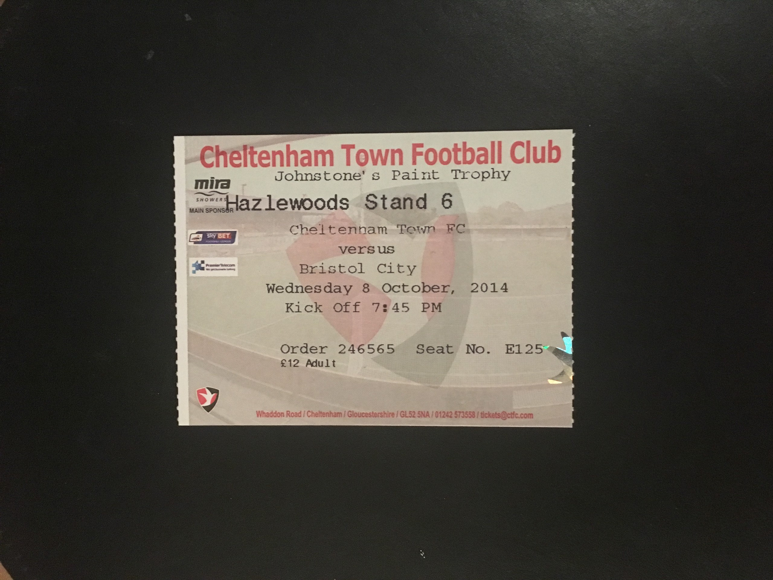 Cheltenham Town v Bristol City 08-10-2014 Ticket