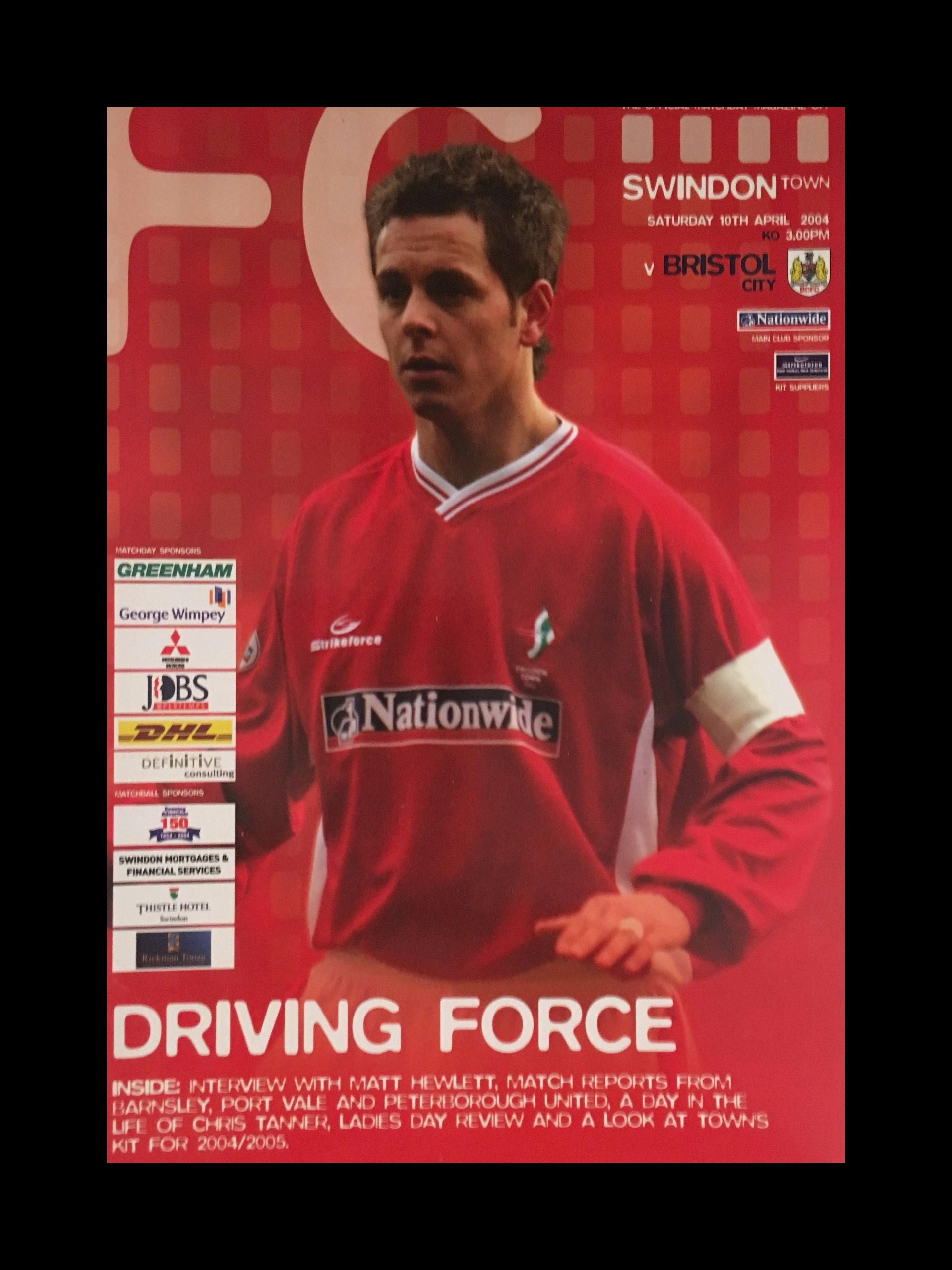 Swindon Town v Bristol City 10-04-2004 Programme