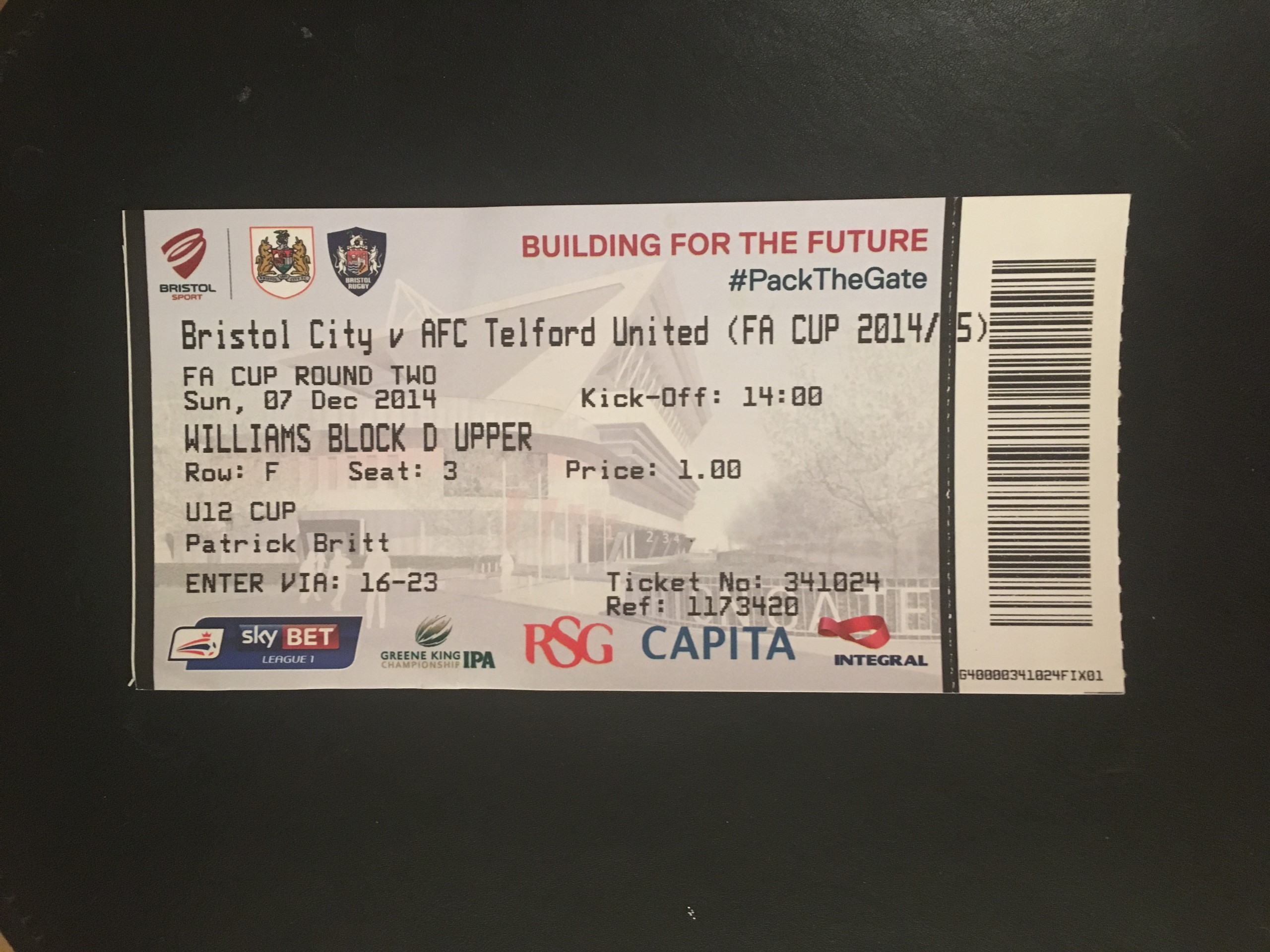 Bristol City v Telford United 07-12-2014 Ticket