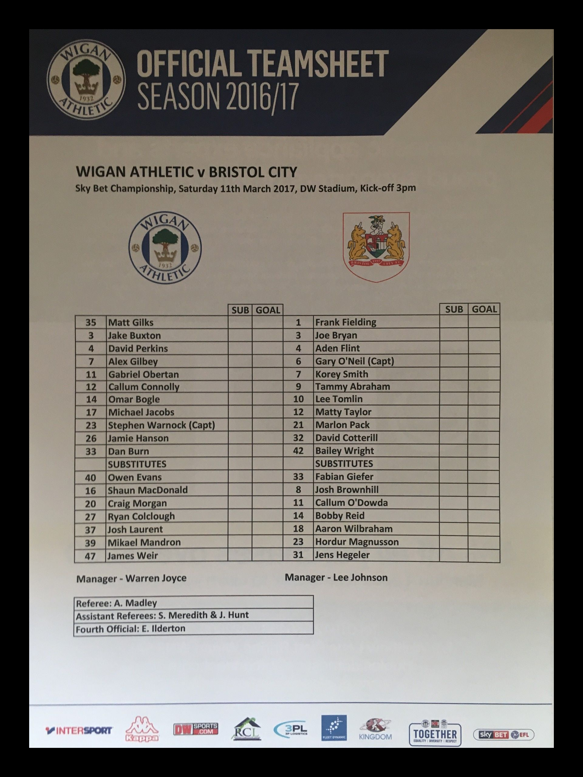 Wigan Athletic v Bristol City 11-03-17 Team Sheet