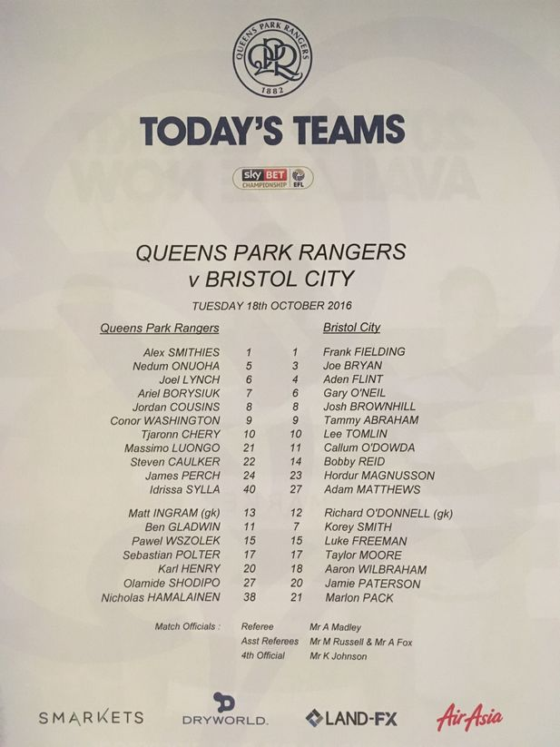 Queens Park Rangers v Bristol City 18-10-2016 Team Sheet