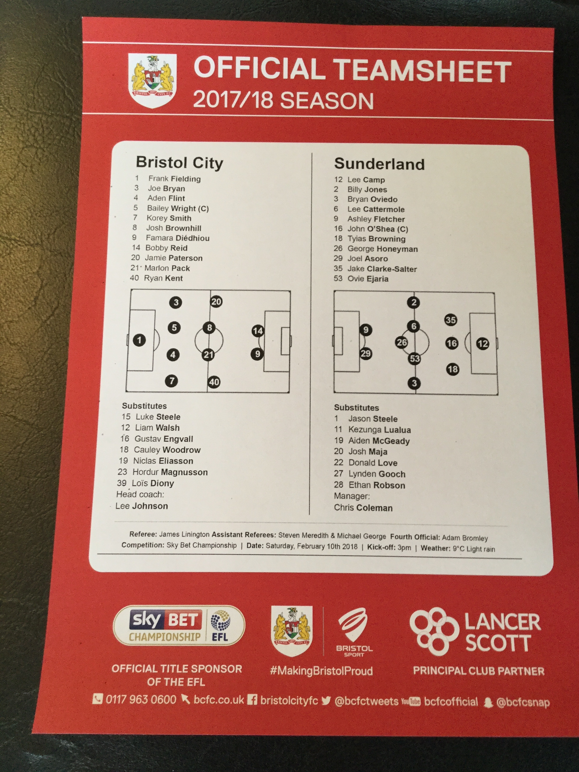 Bristol City v Sunderland 10-02-18 Team Sheet