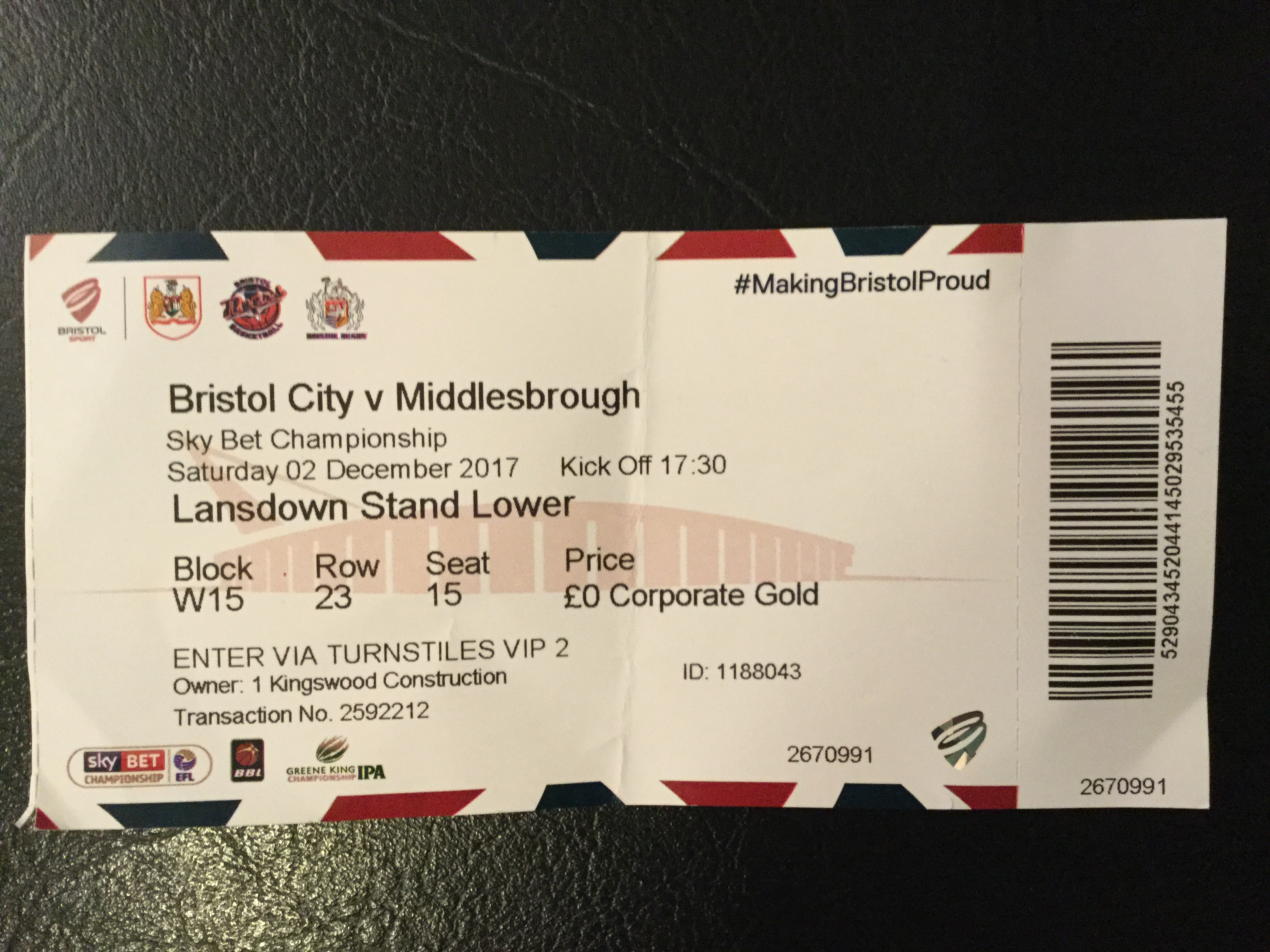 Bristol City v Middlesbrough 02-12-2017 Ticket
