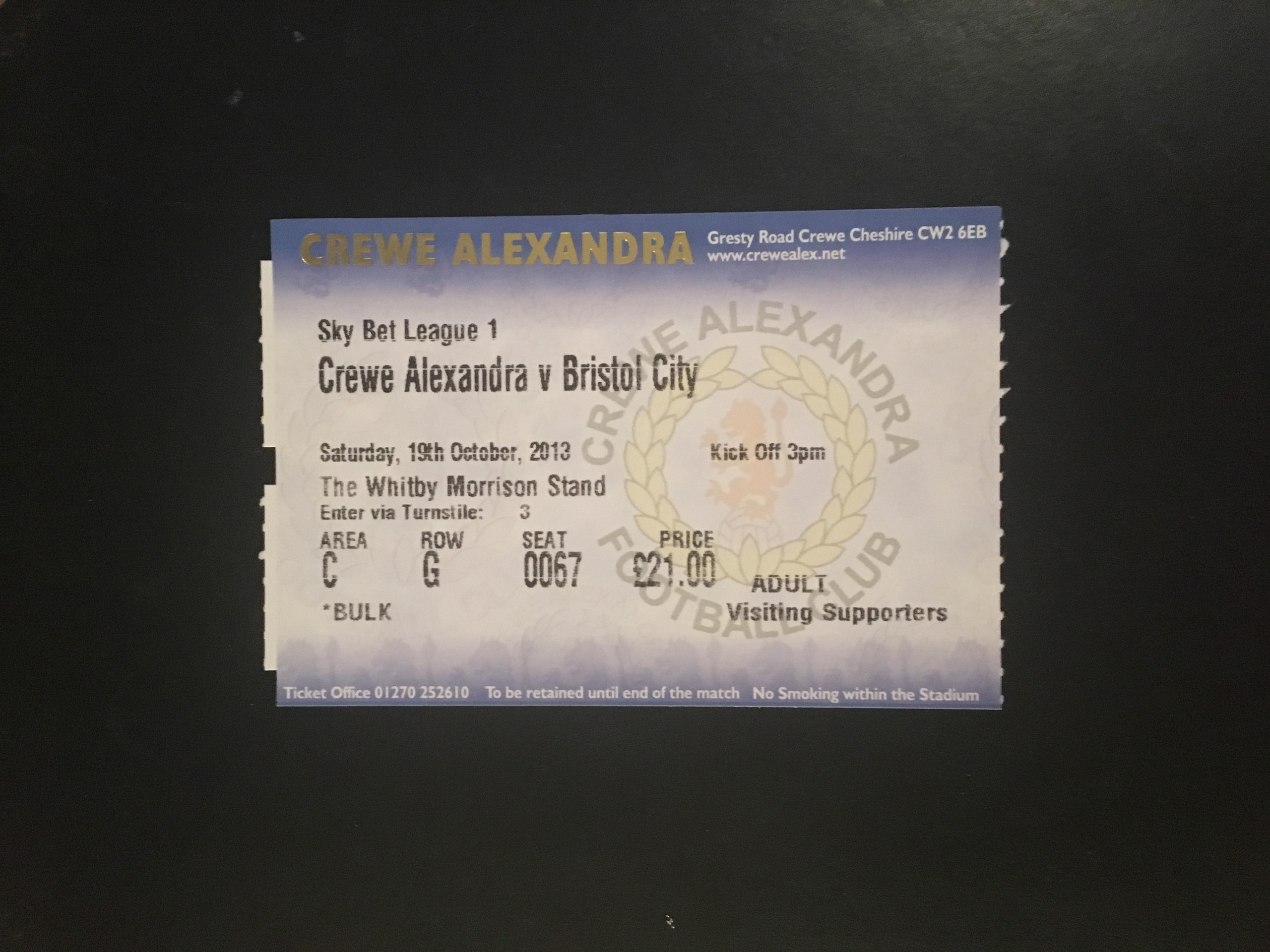 Crewe Alexandria v Bristol City 19-10-2013 Ticket