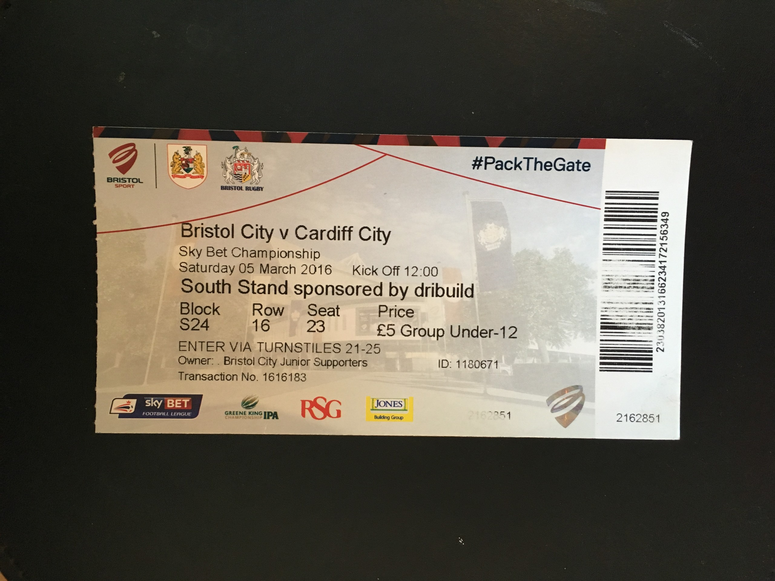 Bristol City v Cardiff City 05-03-2016 Ticket