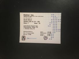 Coventry City v Bristol City 11-08-2013 Ticket