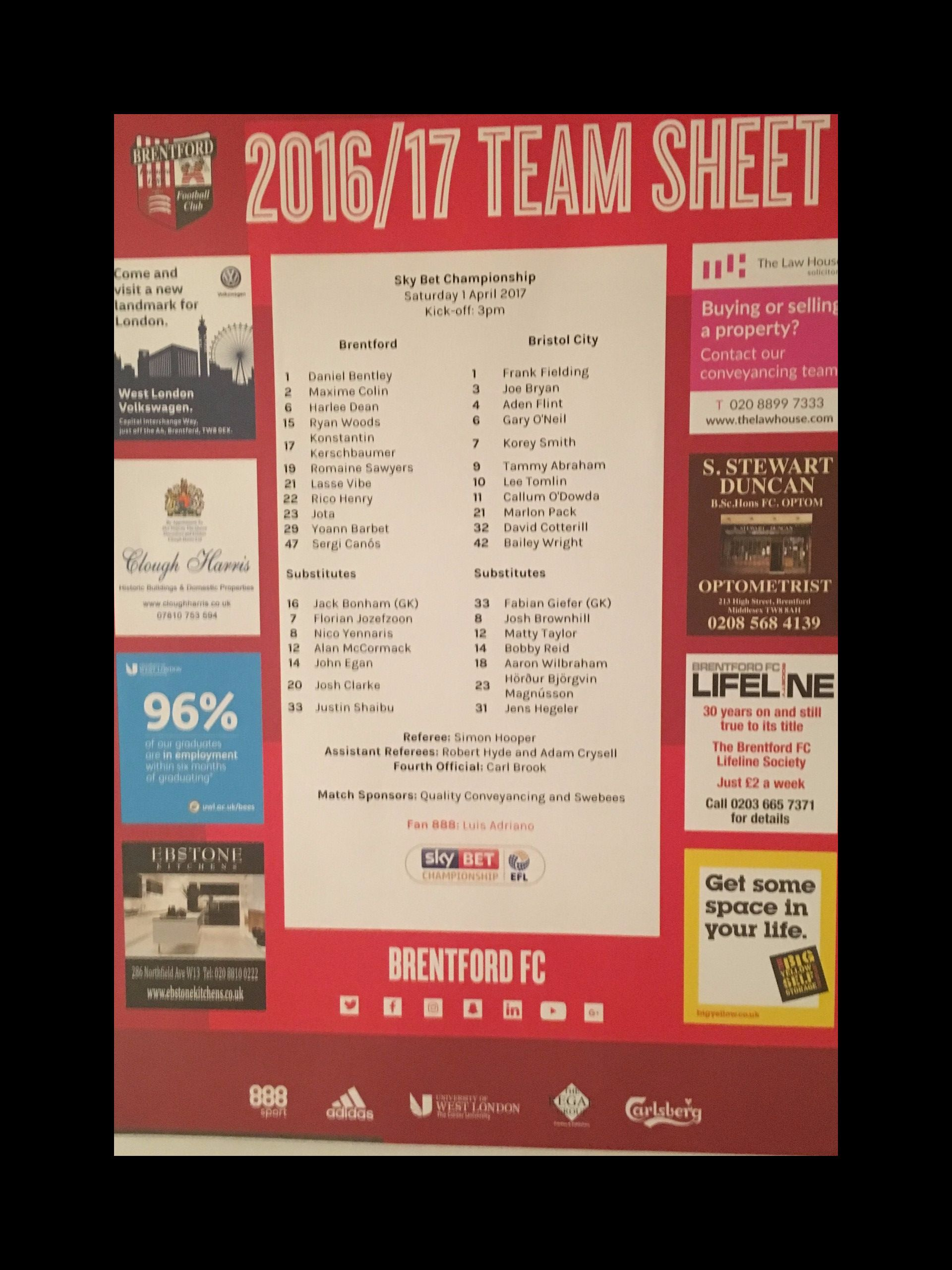 Brentford v Bristol City 01-04-17 Team Sheet