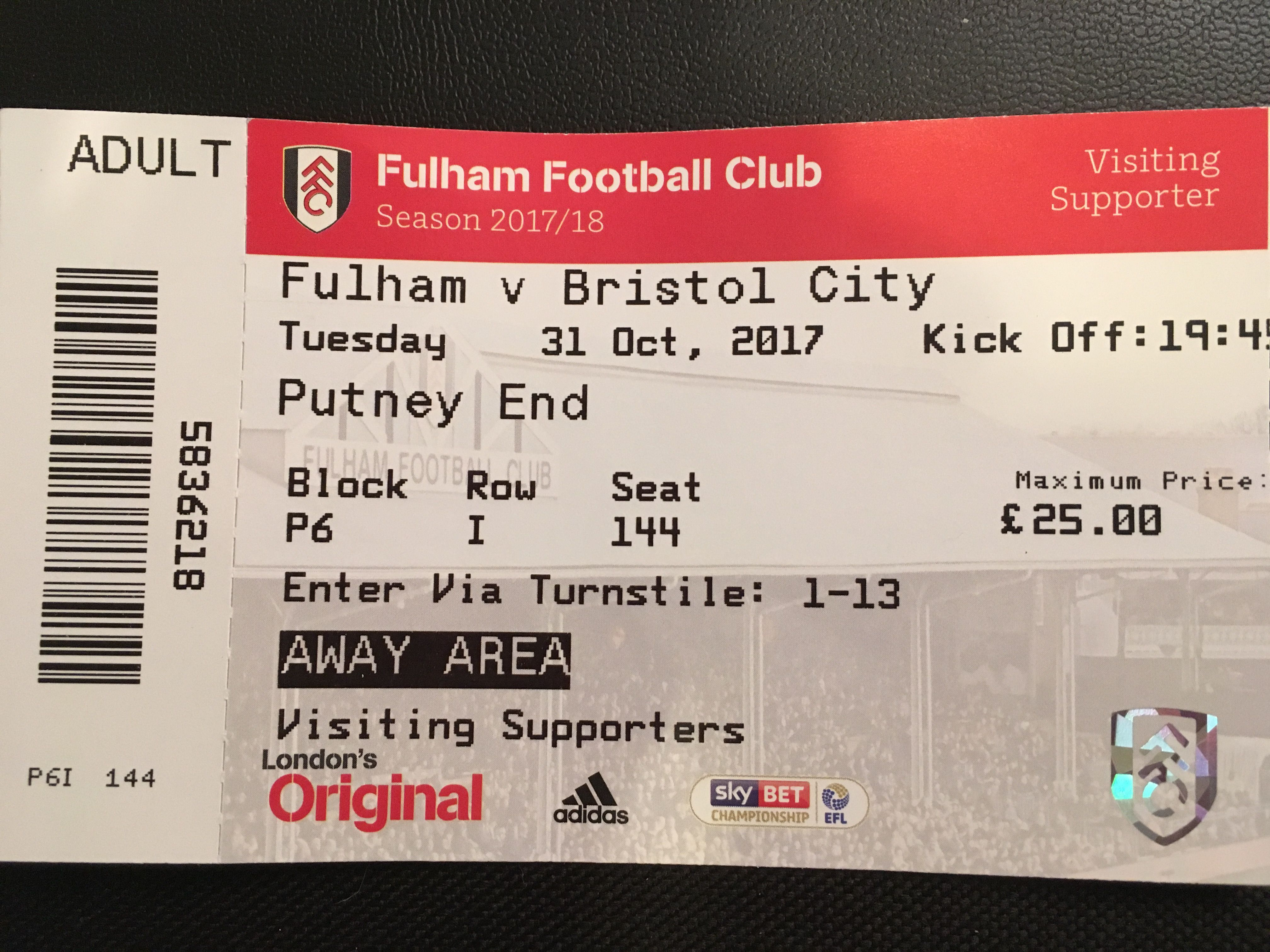 Fulham v Bristol City 31-10-17 Ticket